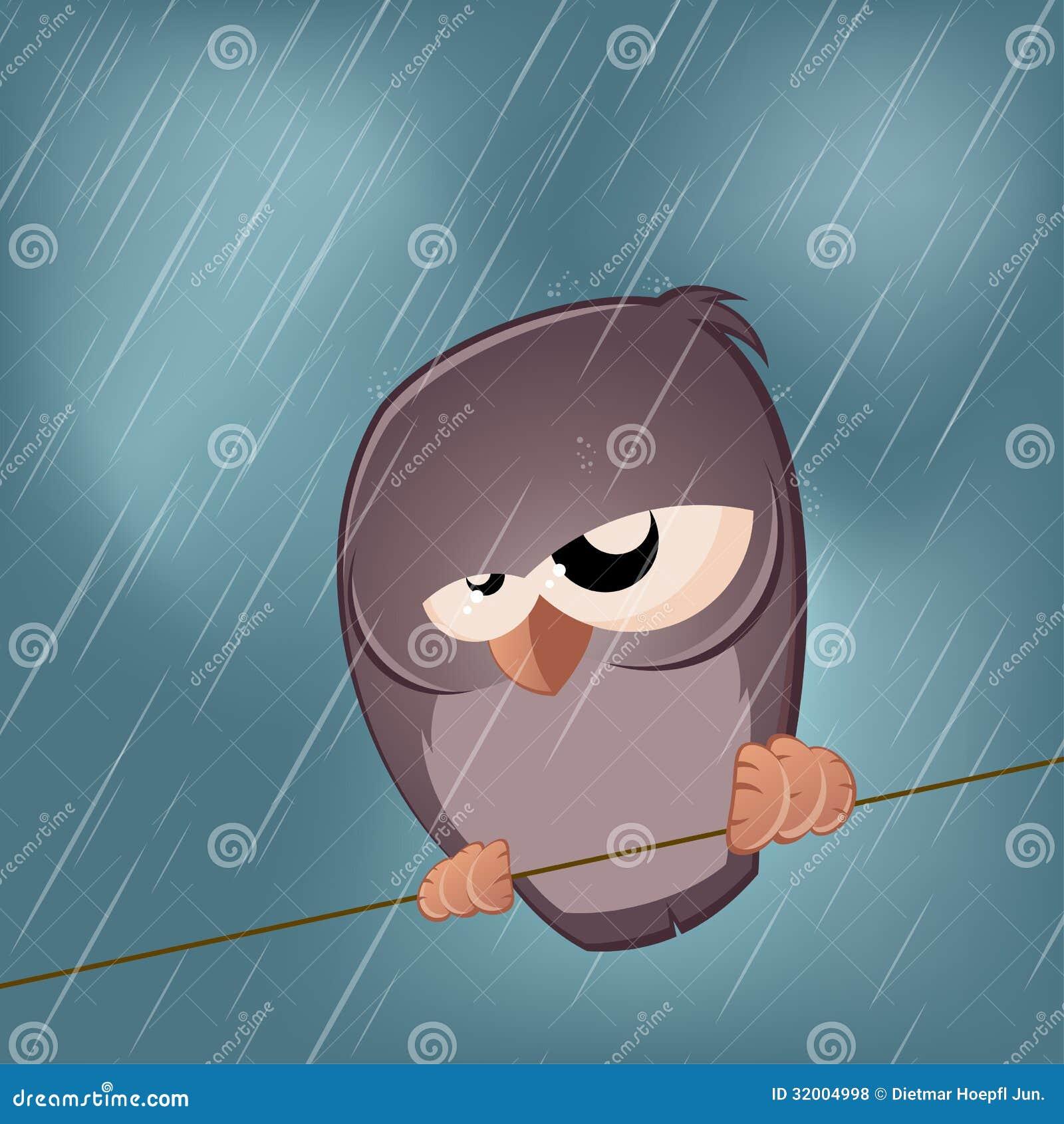 Sad Bird On A Rainy Day Stock Illustration Illustration Of Animal
