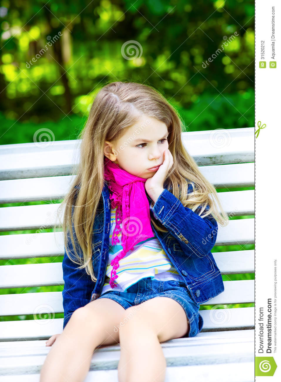Sad Girl Sitting Alone Outside Stock Photos Sad Girl: Sad Blond Little Girl Sitting On A Bench In The Park Stock