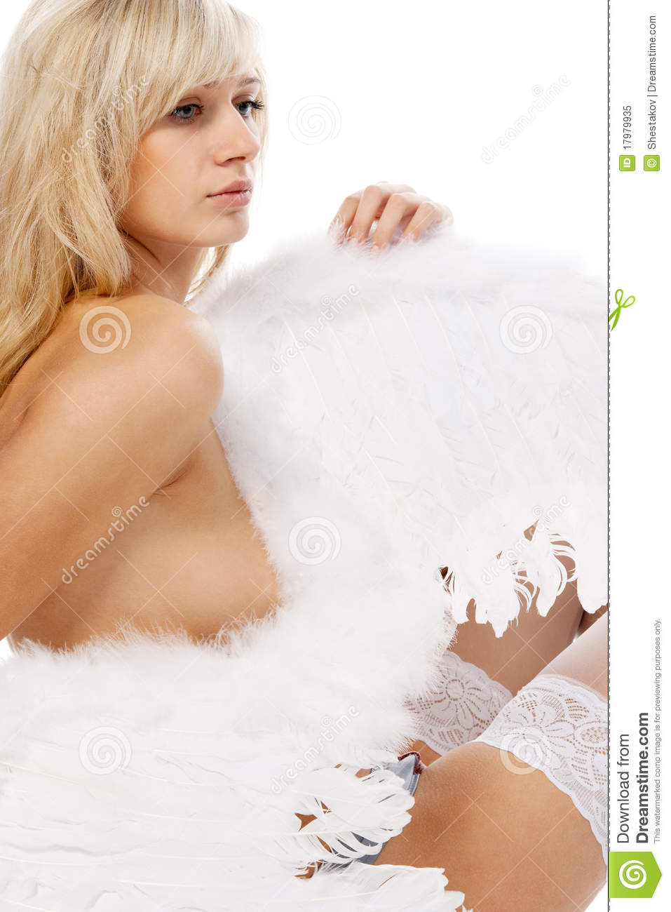Sad Blonde Angel In Stockings Stock Image Image Of