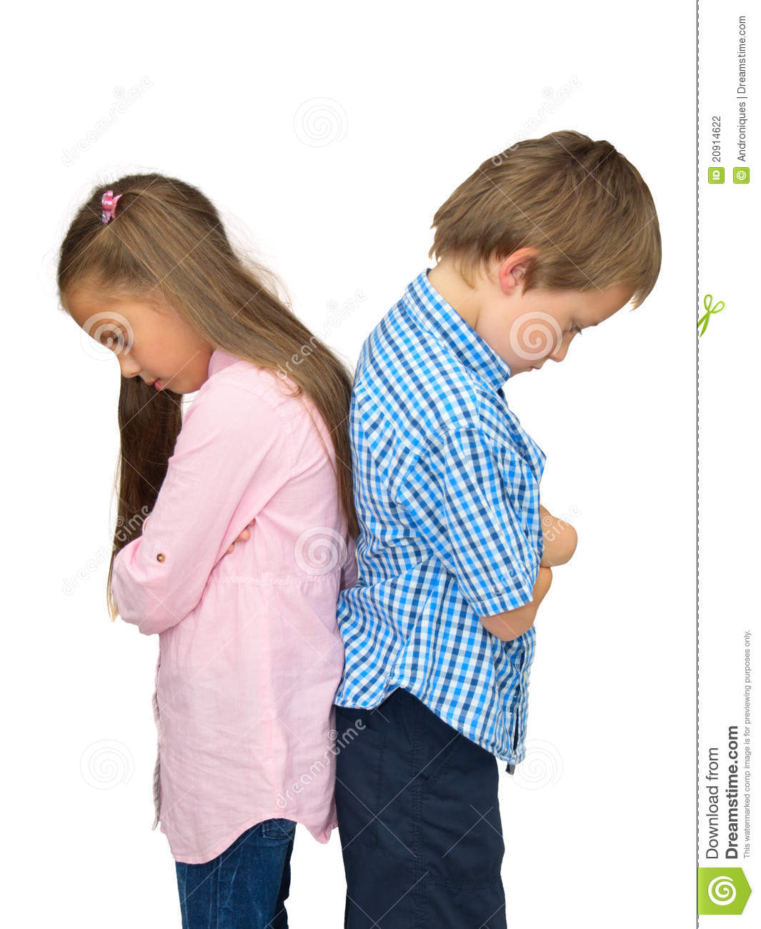 Sad Boy And Girl - Ajar, In Quarrel, On White Stock Photo - Image Of Back, Brother -2478