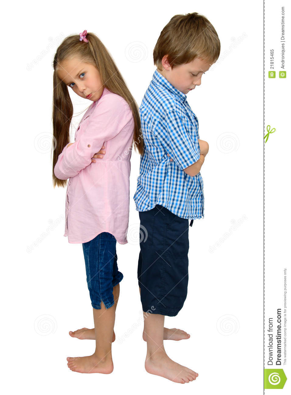 Boy And Girl Bedroom Decor: Sad Boy And Girl Punished After Argument, On White Royalty