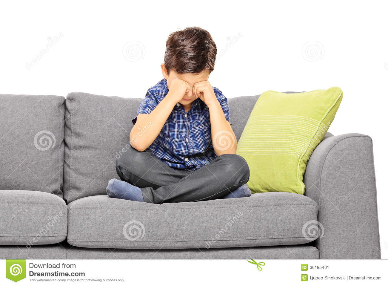 sad boy sitting on a couch and crying stock image image. Black Bedroom Furniture Sets. Home Design Ideas