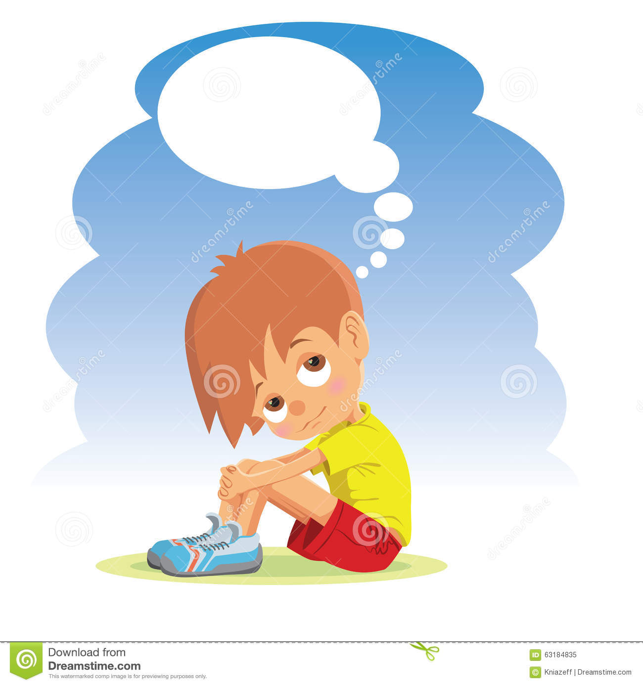 Sad boy thinking about something vector illustration vector illustration