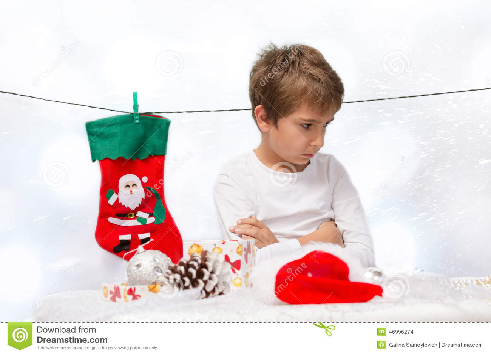 Sad Boys With Christmas Decorations. Stock Photo - Image of white, background: 46996274