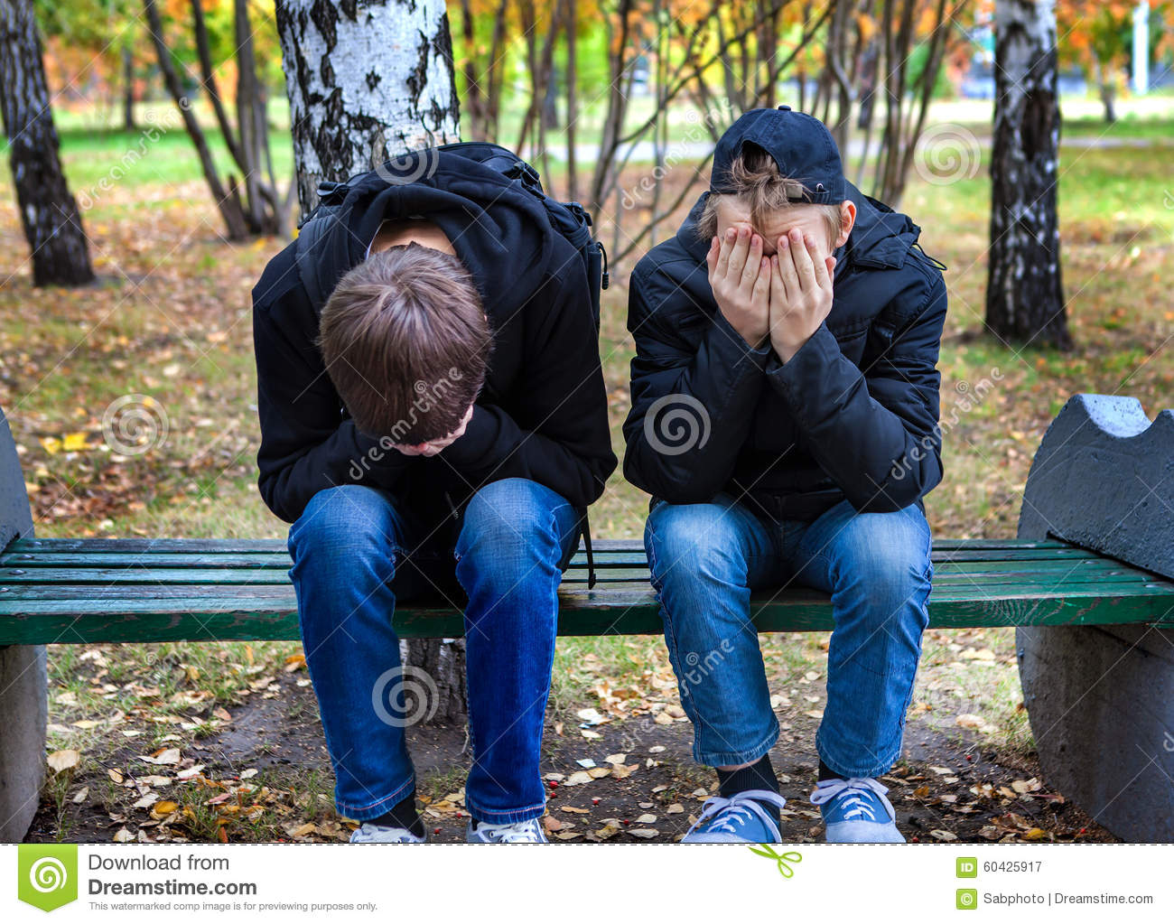 Sad Boys outdoor stock image. Image of chap, sadness ...