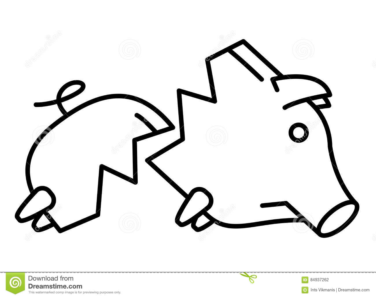Line Drawing Piggy Bank : Sad broken piggy bank or money box stock vector