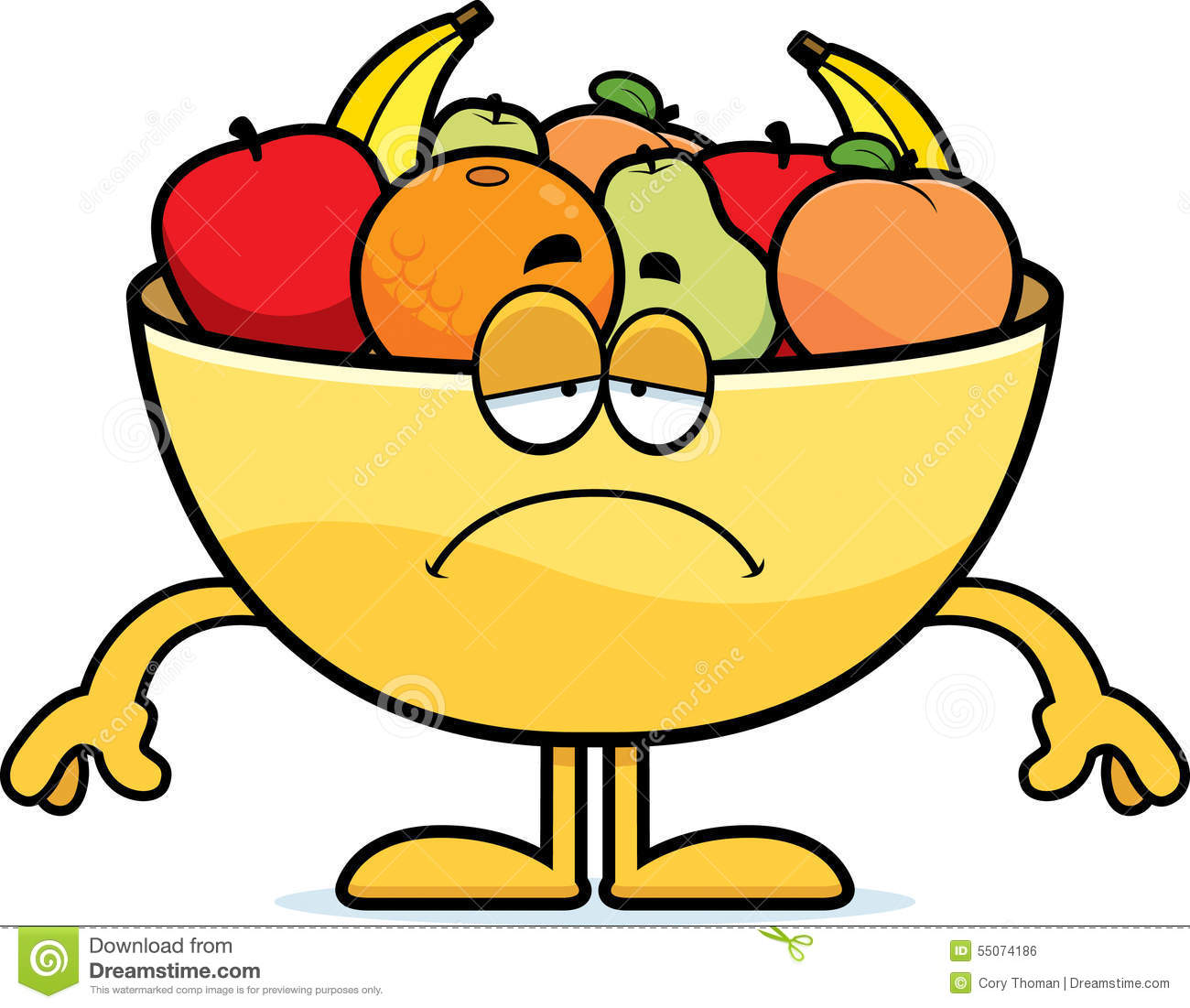 Sad Cartoon Bowl Of Fruit Stock Vector - Image: 55074186