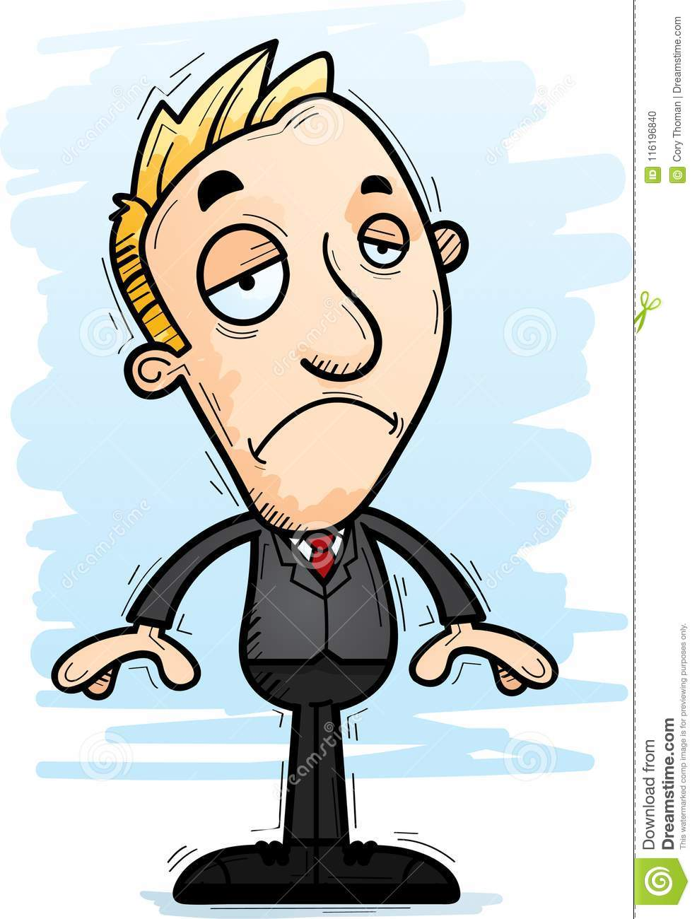 A cartoon illustration of a businessman looking sad