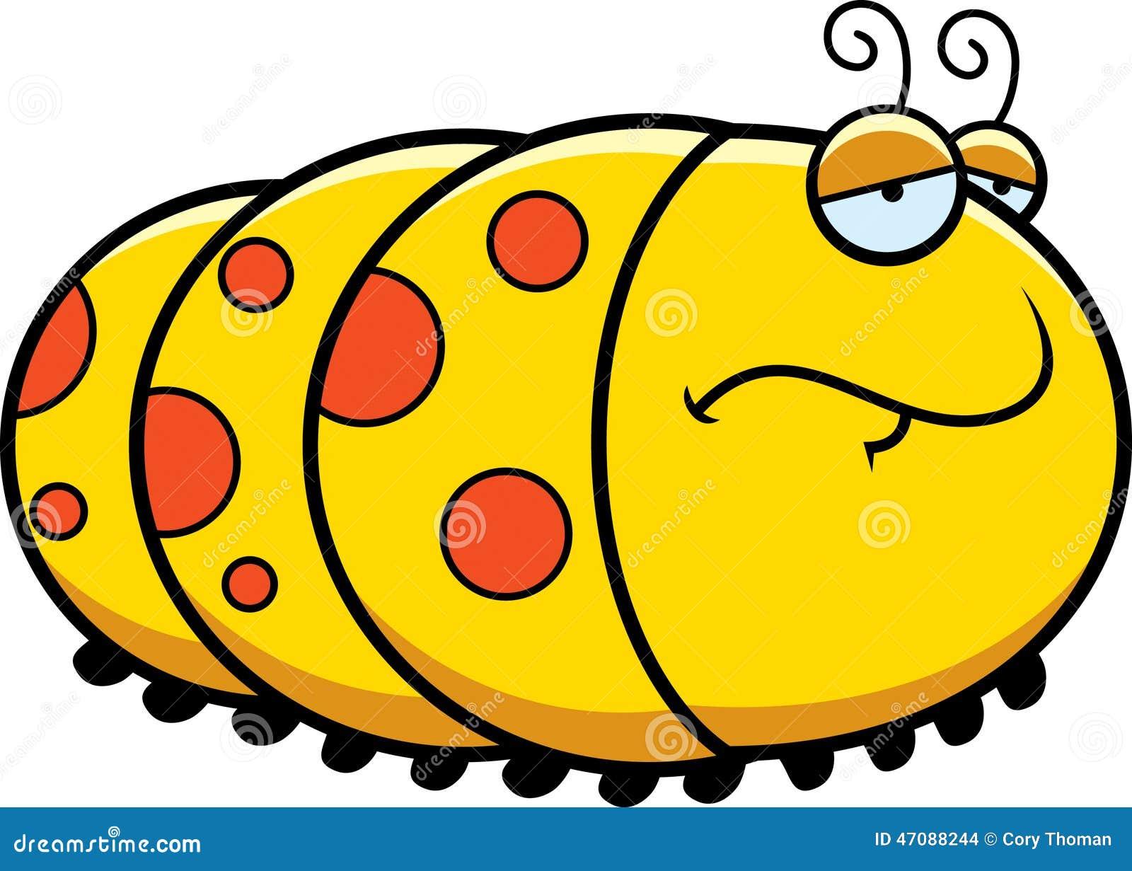 Sad Cartoon Caterpillar stock vector. Illustration of ... Гусеница Вектор