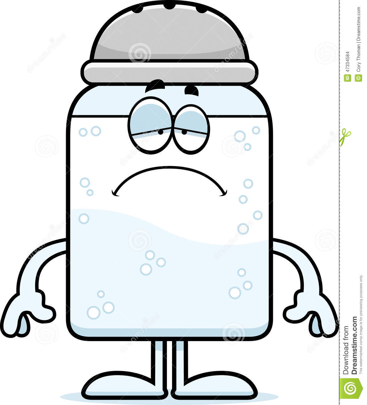 cartoon illustration of a salt shaker looking sad.