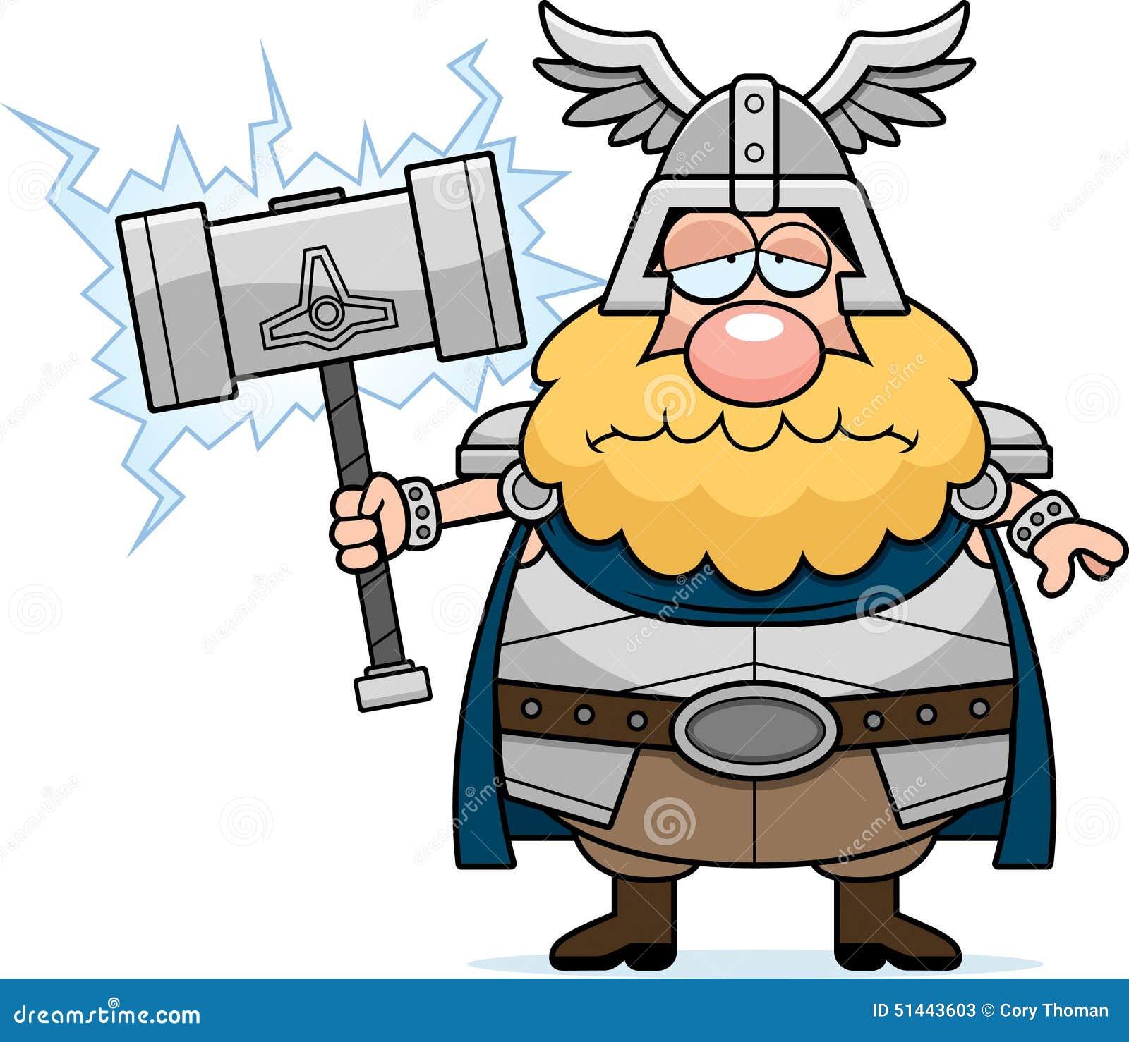 sad cartoon thor stock vector image 51443603