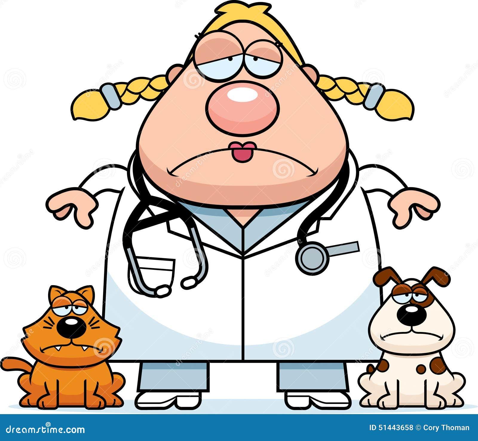 sad cartoon veterinarian stock vector   image 51443658