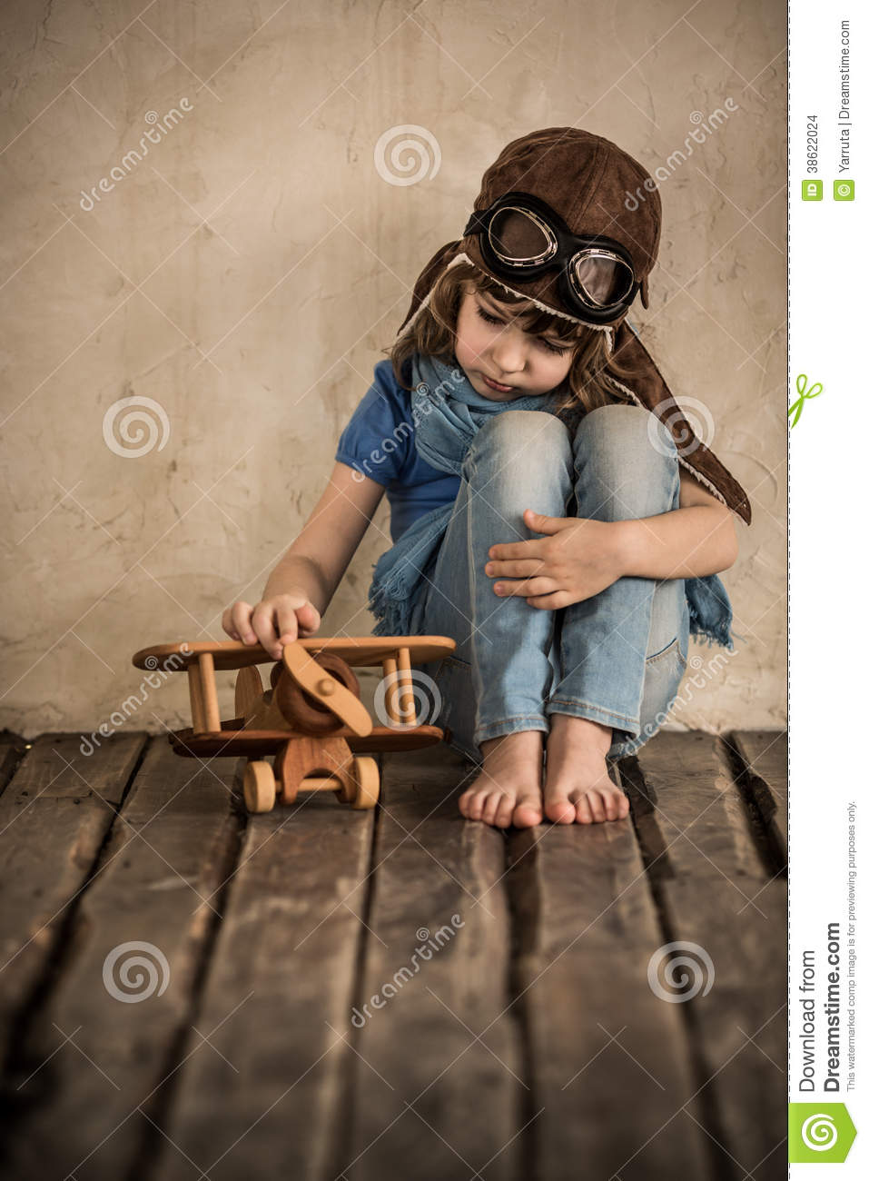 Sad Child Playing With Airplane Stock Images - Image: 38622024