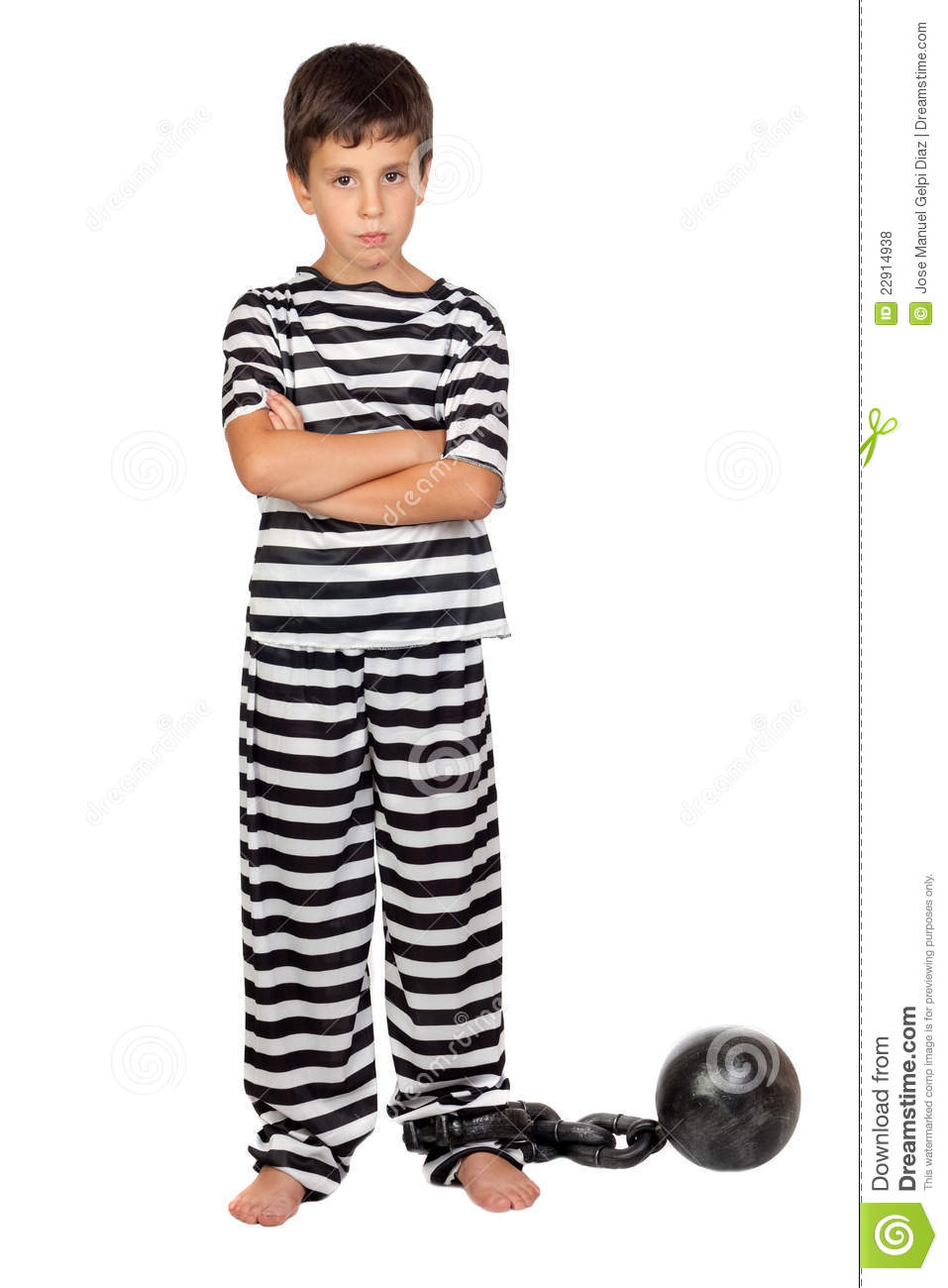 sad child with prisoner ball stock photo image 22914938