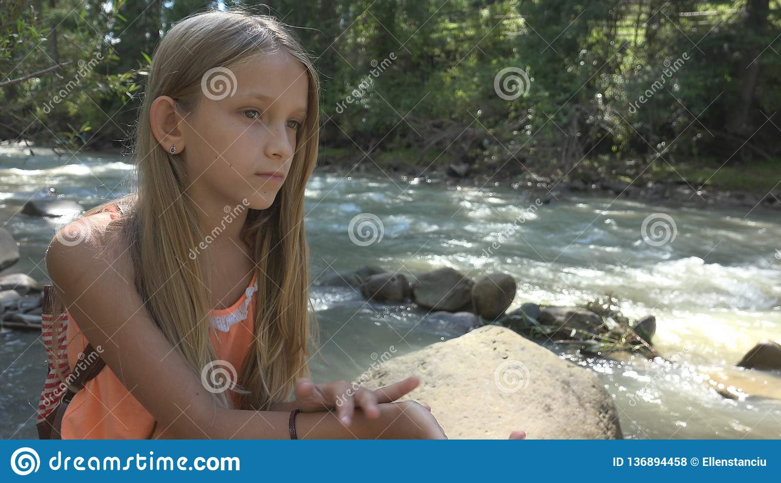 Sad Child by River, Thoughtful Kid Relaxing in Nature, Girl in Camping, Mountain