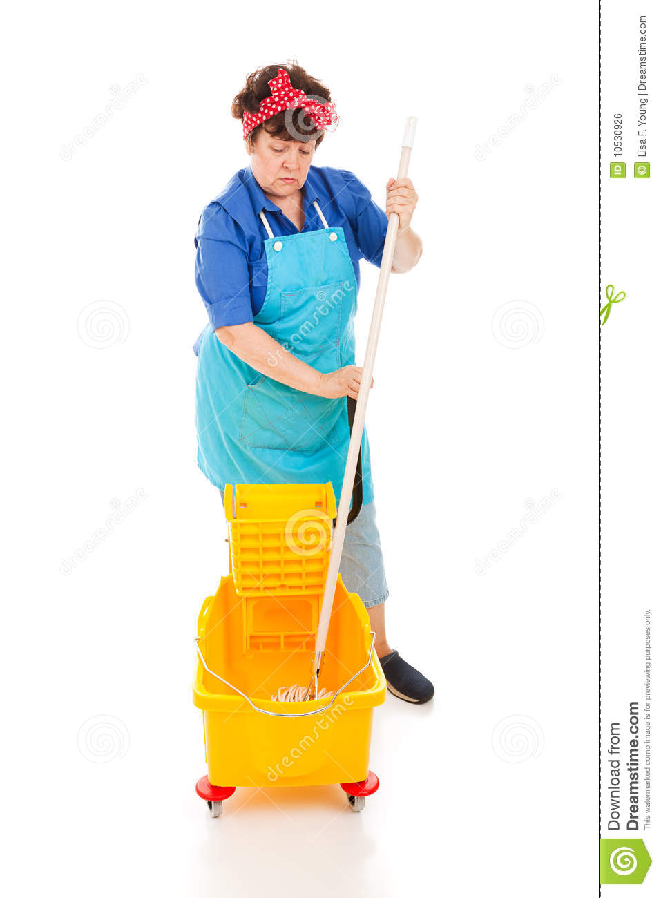 Sad depressed cleaning lady wringing out her mop in a bucket. Full ...