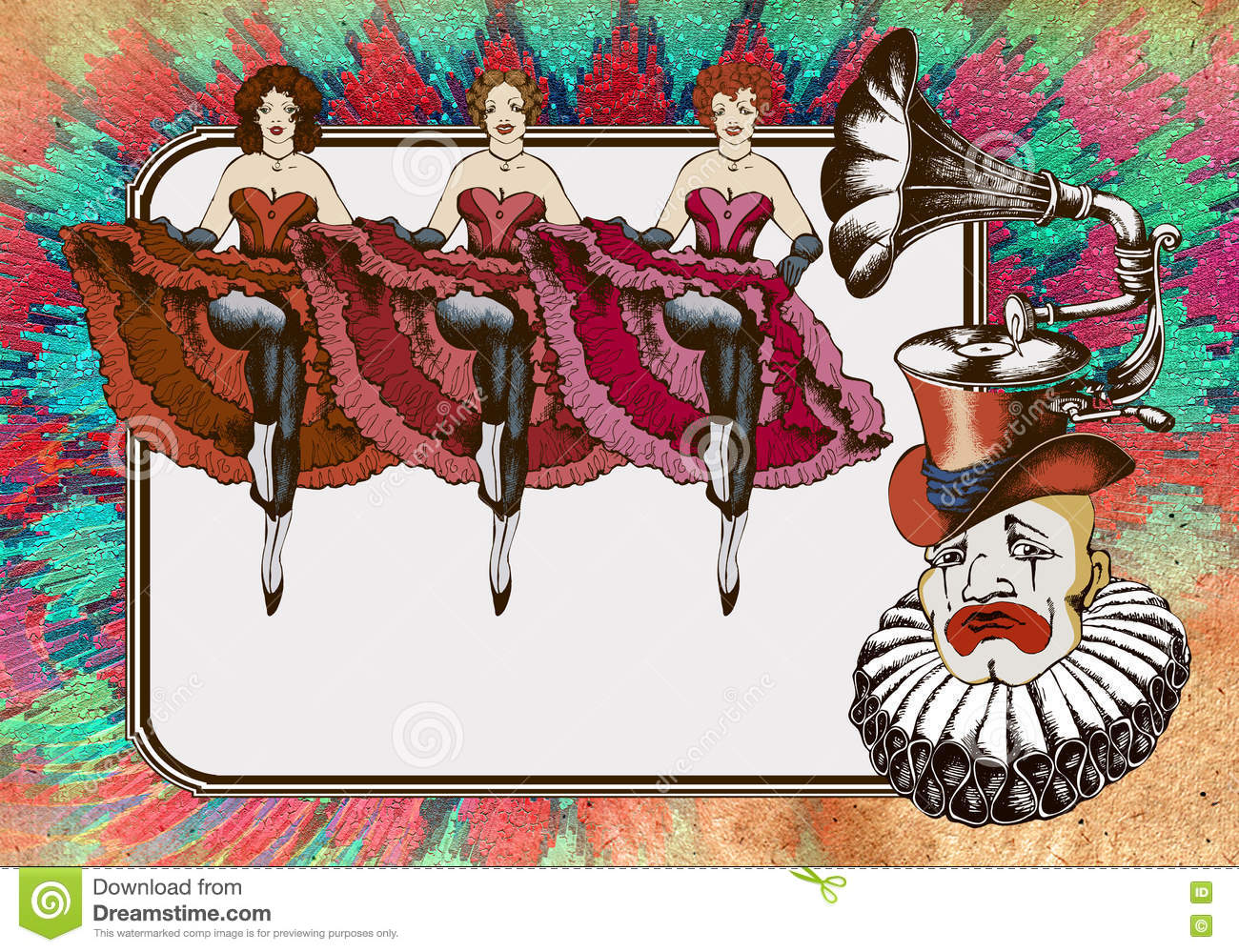 Sad Clown In A Gramophon Hat And Cancan Dancers Stock Illustration