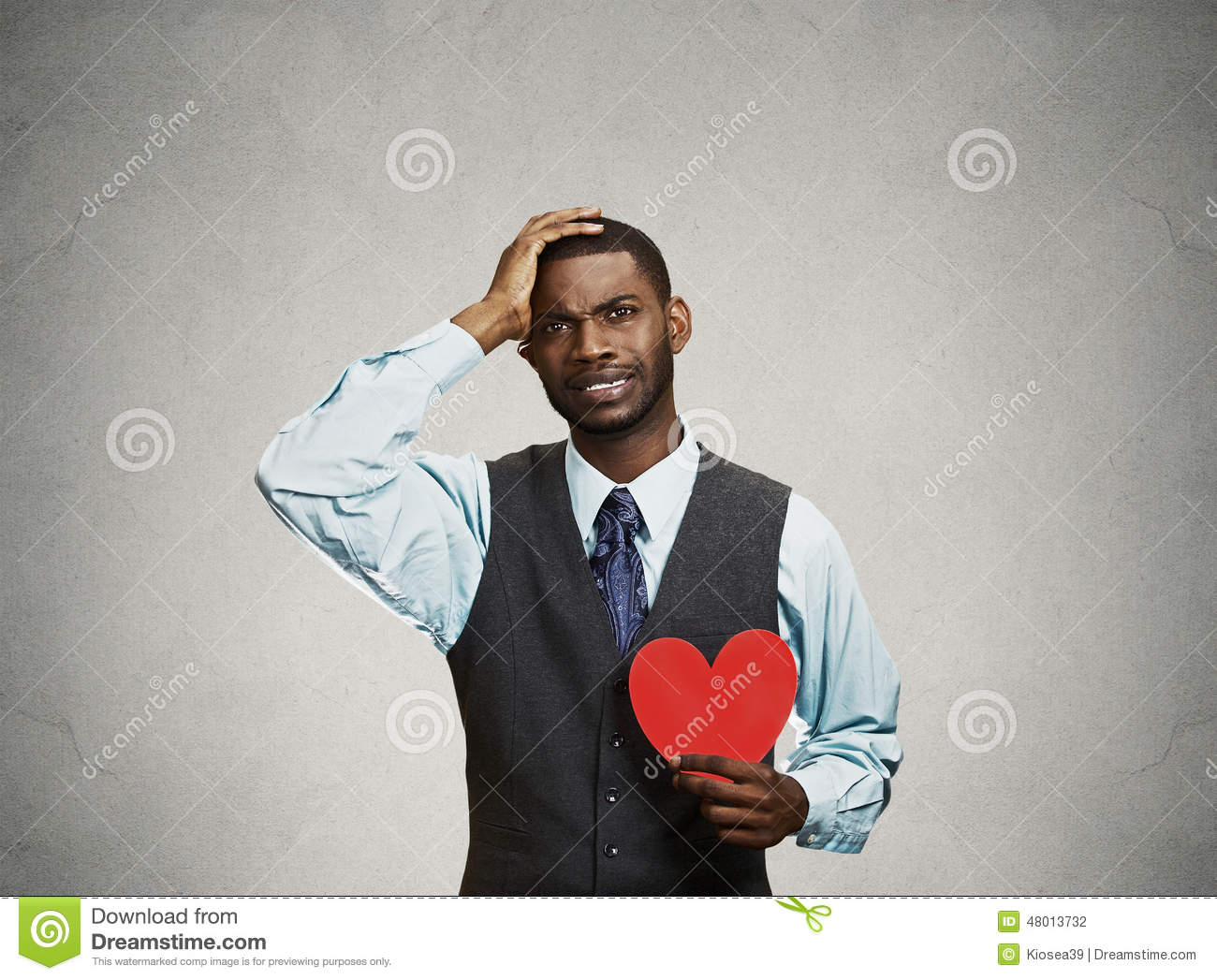 Download Sad Company Man Holding Red Heart, Crying Stock Photo - Image of betrayal, business: 48013732