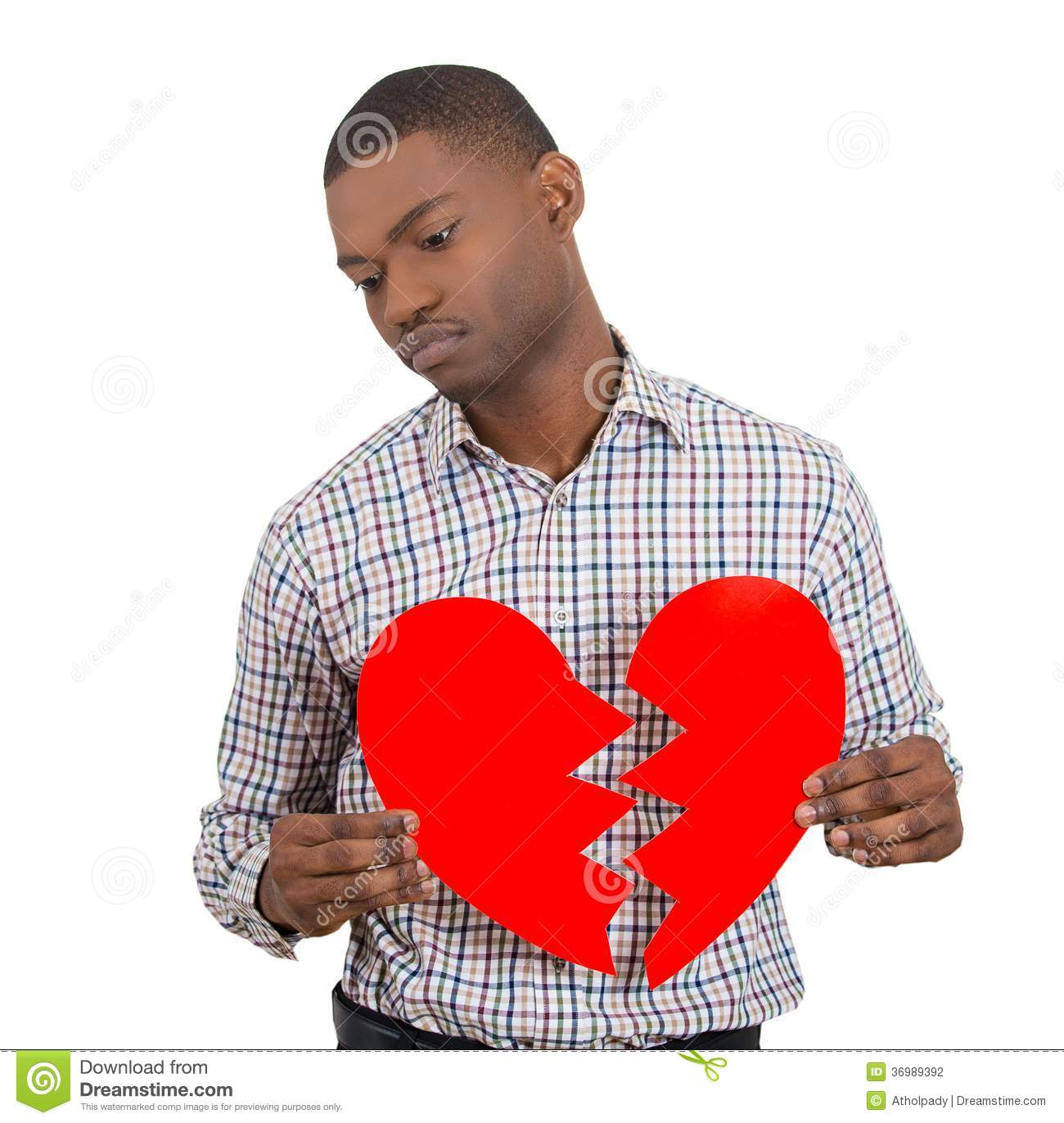 Sad Confused Man, Holding Broken Heart In His Hands Stock
