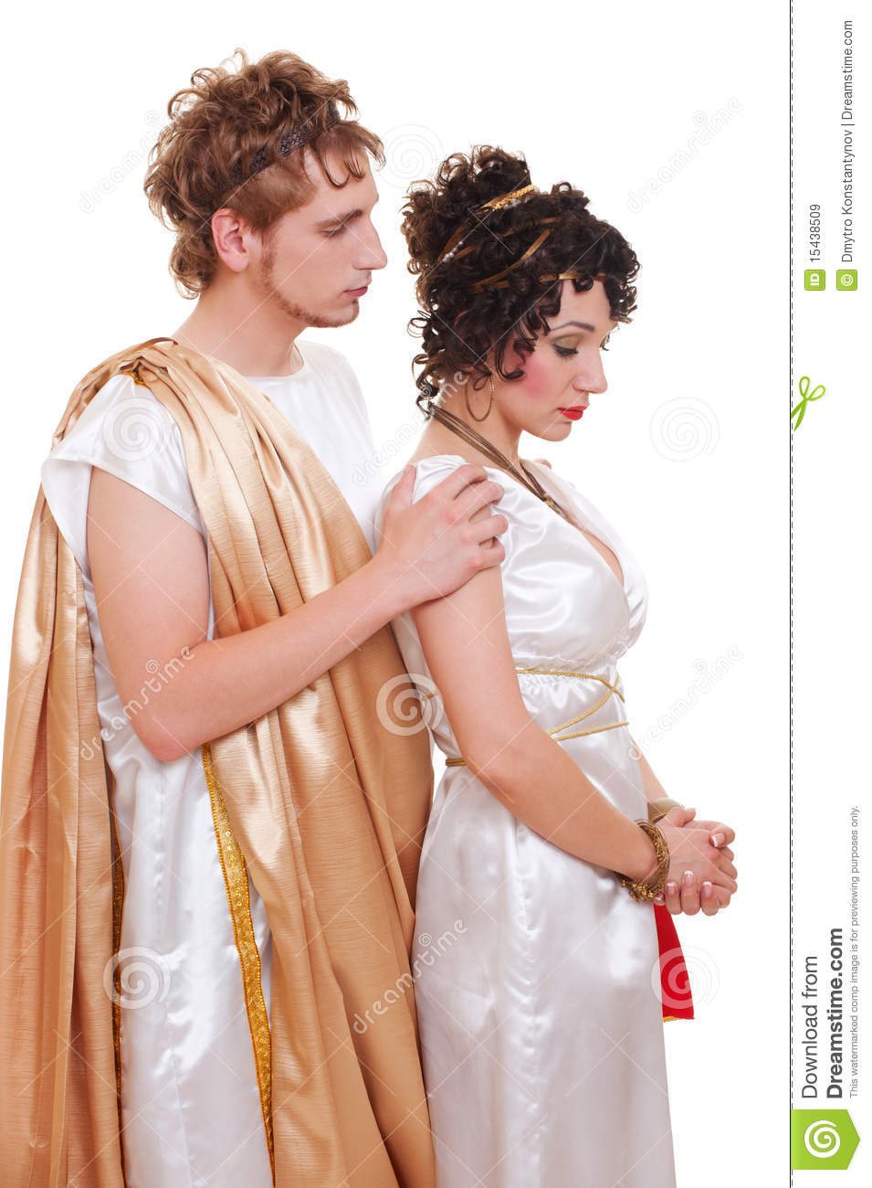 Sad couple in Greek style