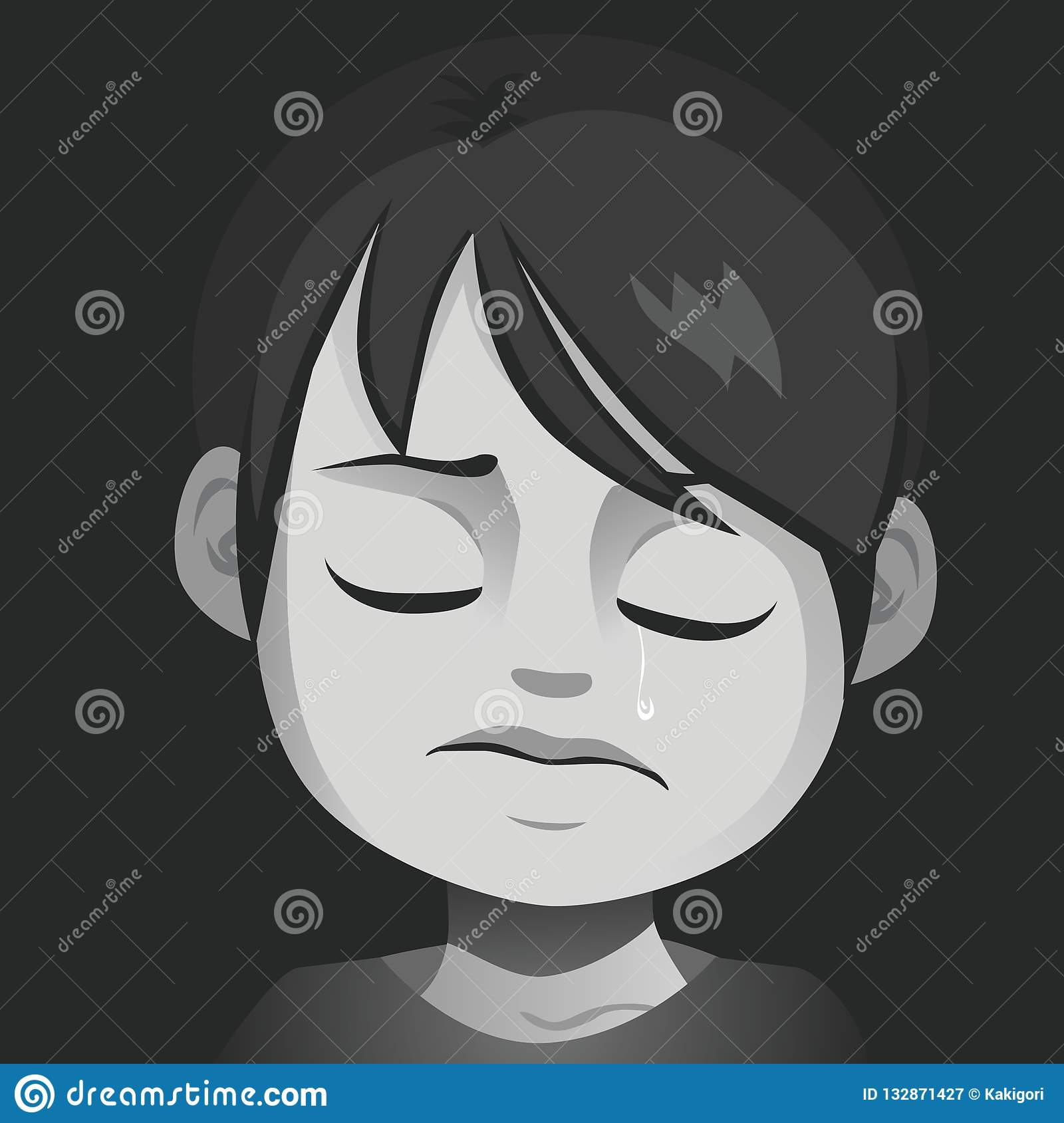 Poor little sad crying boy child abuse concept