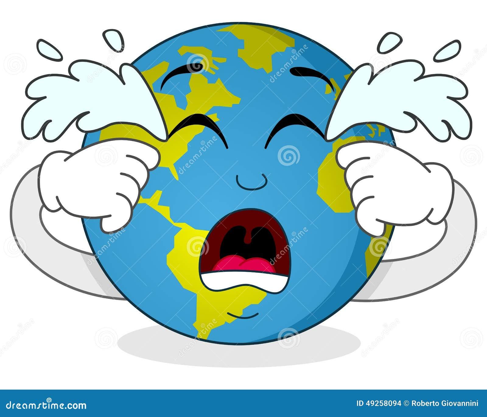Cartoon Characters Crying : Sad crying earth cartoon character vector illustration