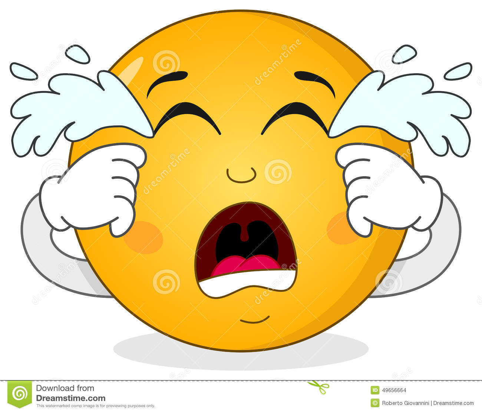 Cartoon Characters Crying : Sad crying smiley emoticon character stock vector image