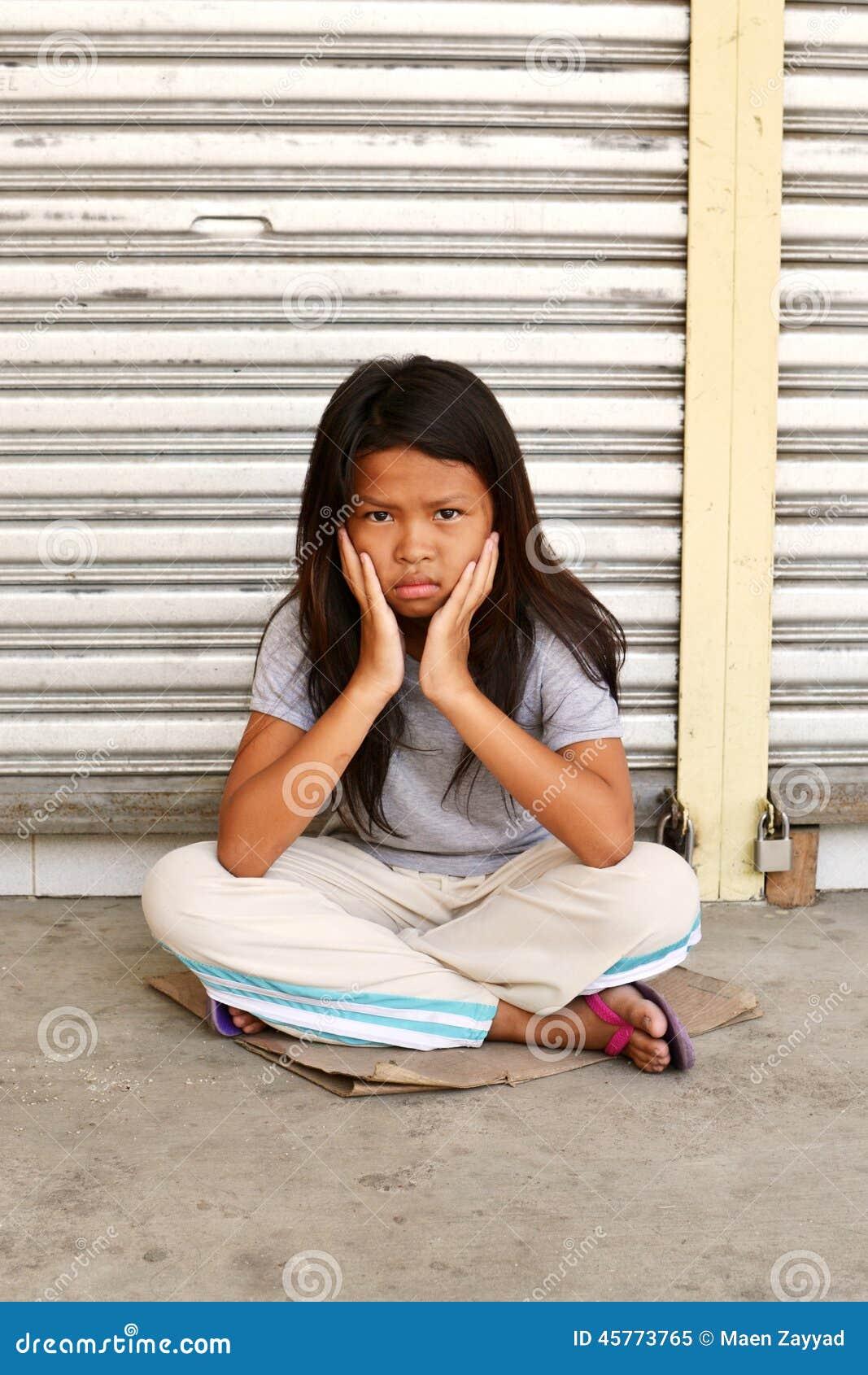 Sad Cute Homeless Child Stock Photo - Image: 45773765