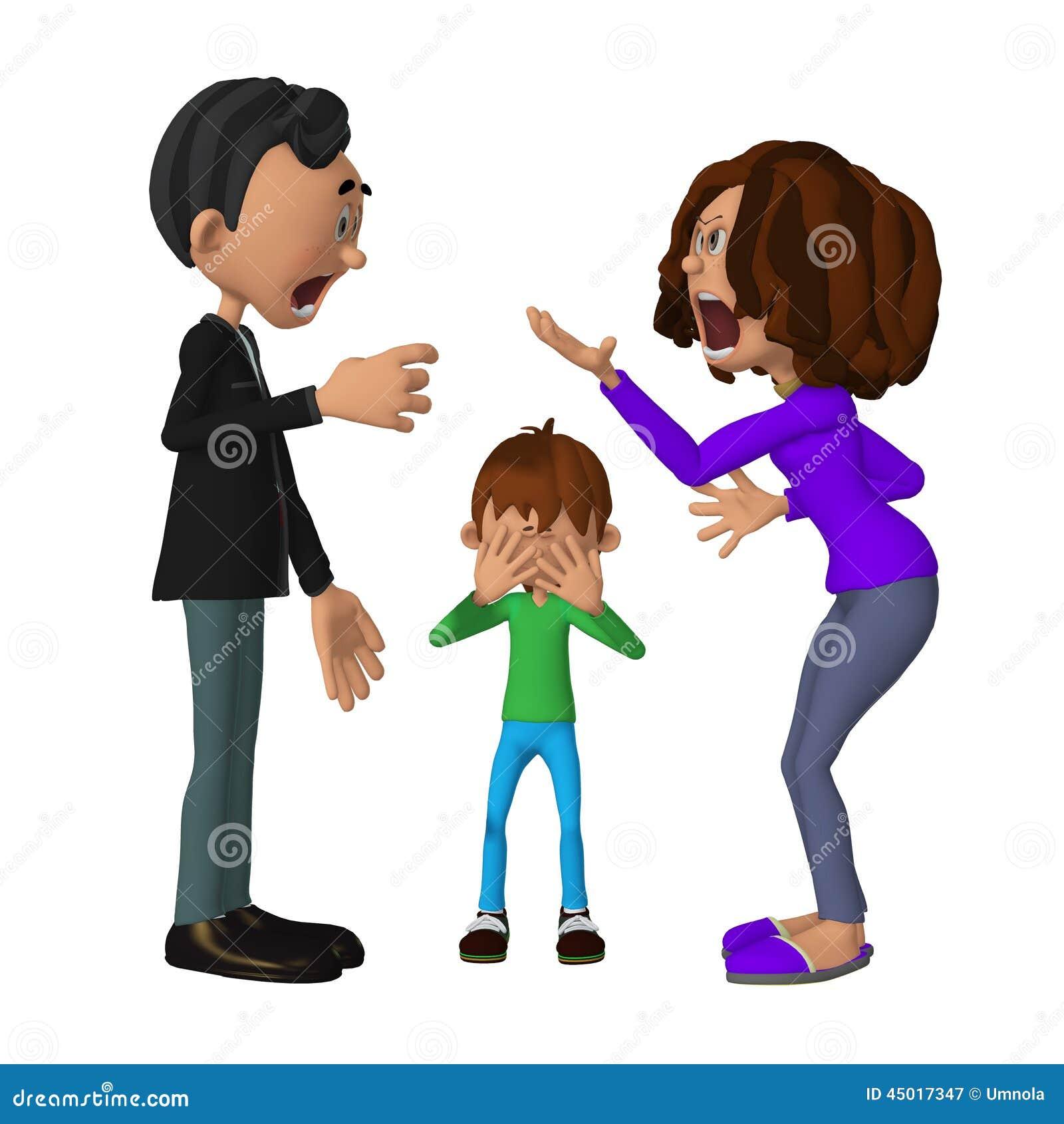 sad 3d child hearing his parents arguing stock illustration
