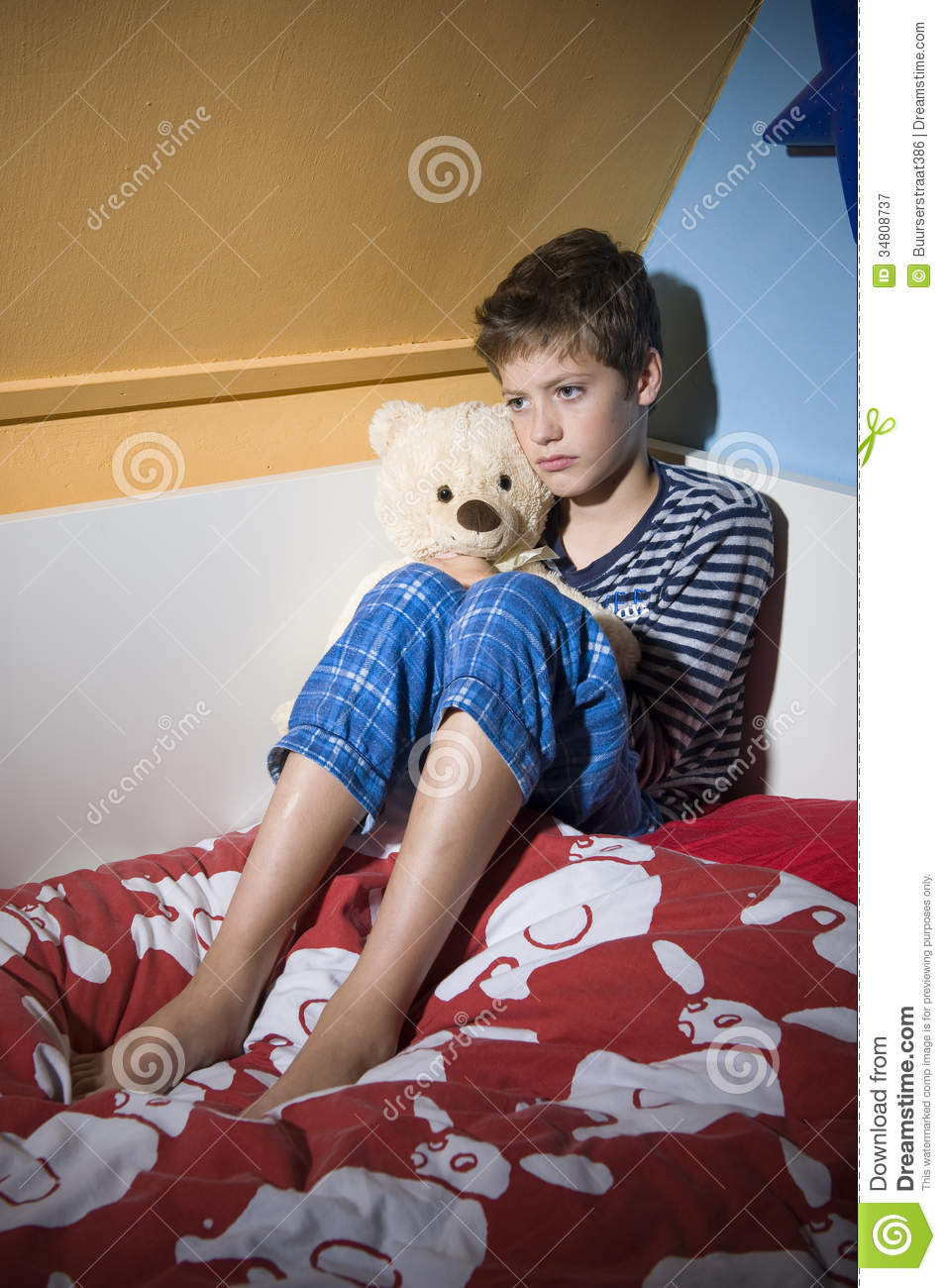 sad and depressed boy on his bed stock image image of neglect youth 34808737. Black Bedroom Furniture Sets. Home Design Ideas