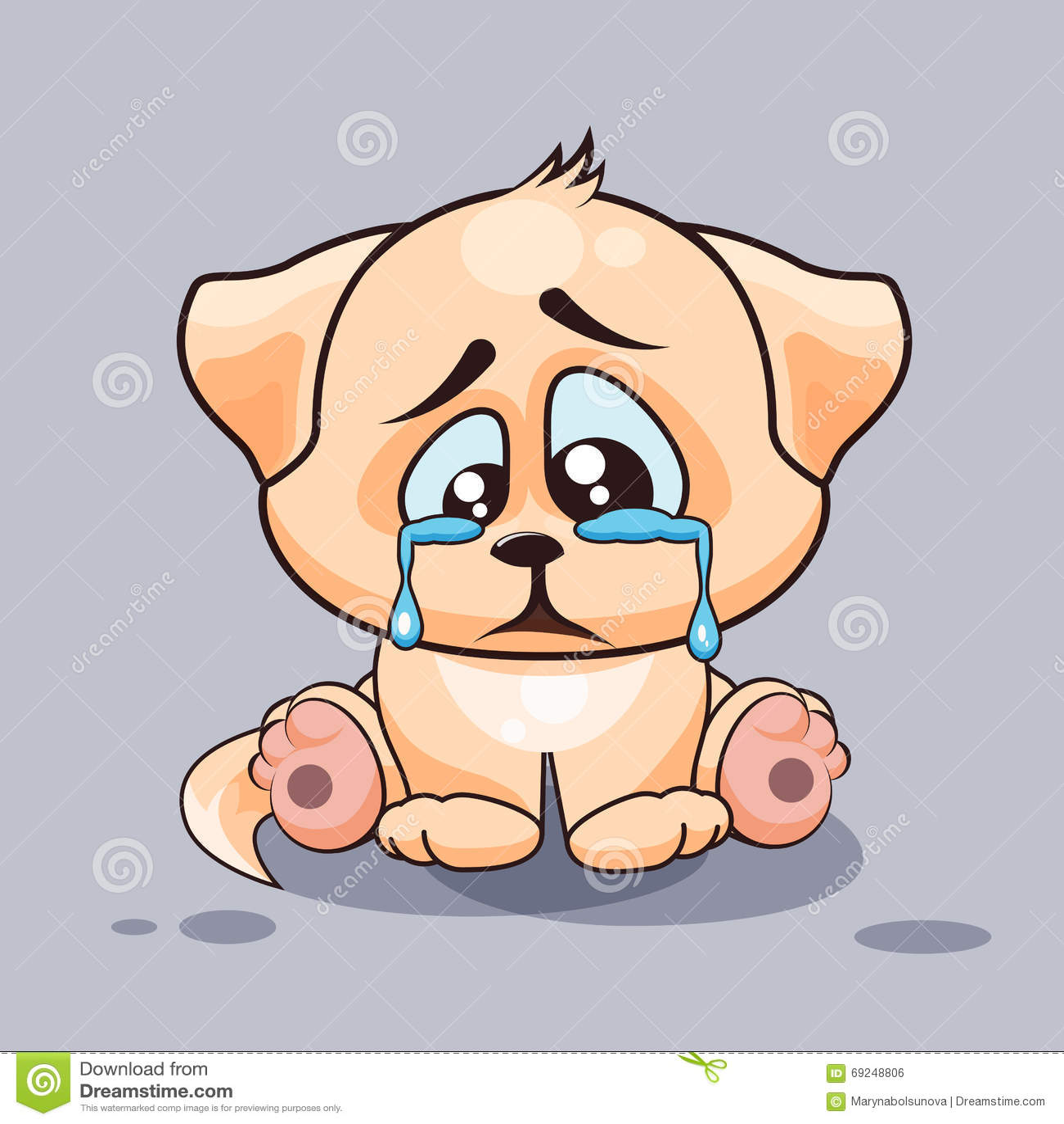 Sad Dog Crying Stock Vector Image 69248806