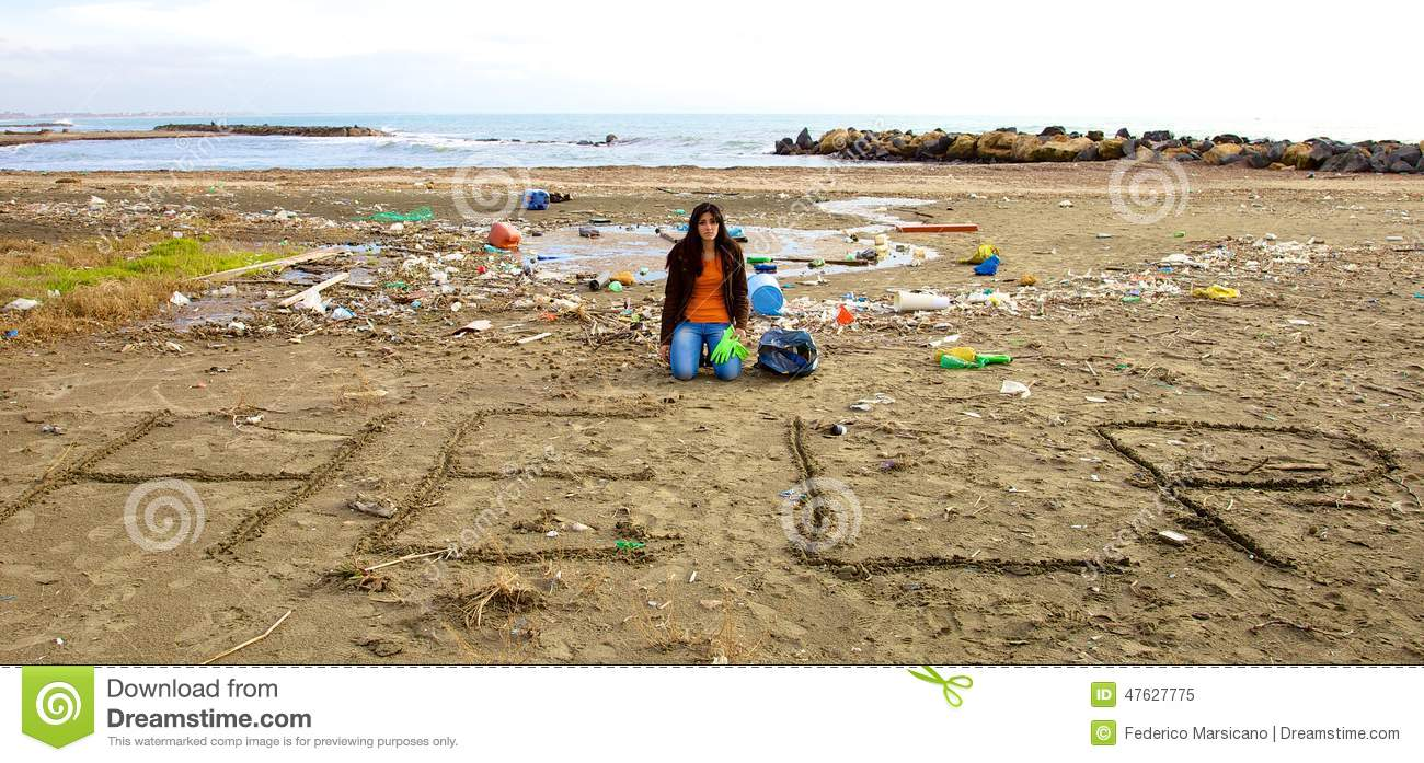 Sad Ecologist Asking For Help Sitting On Beach Full Of