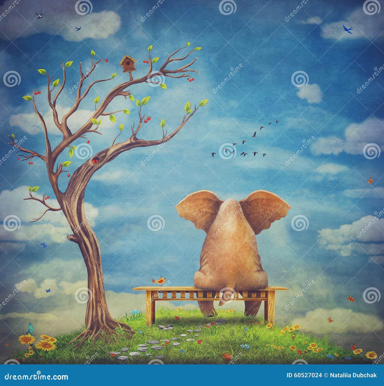 Sad Elephant Sitting On A Bench Stock Illustration - Image ...