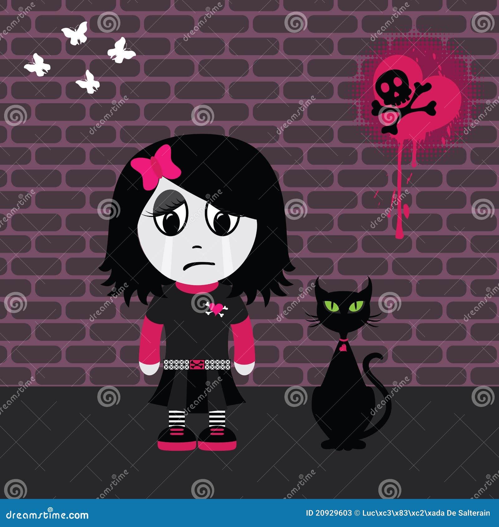 Sad Emo Girl Stock Vector Illustration Of Halftone Brick 20929603