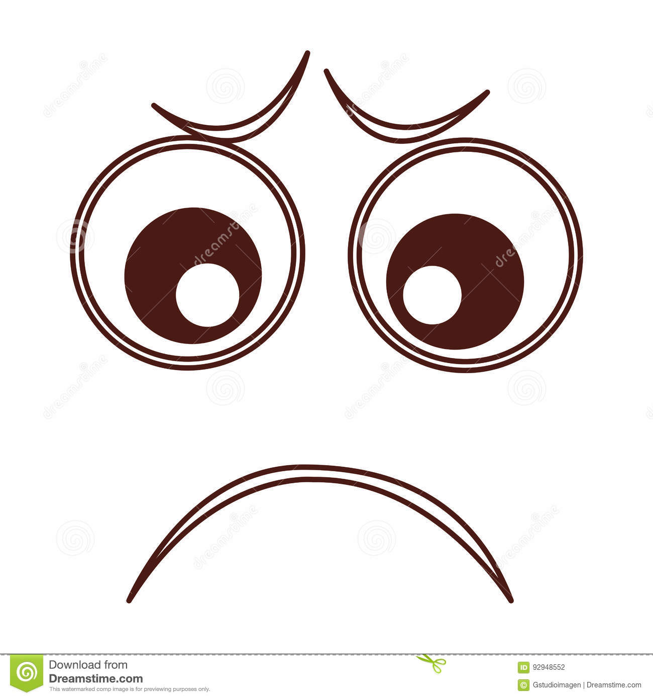 Download Sad Emogy Face Kawaii Character Stock Vector
