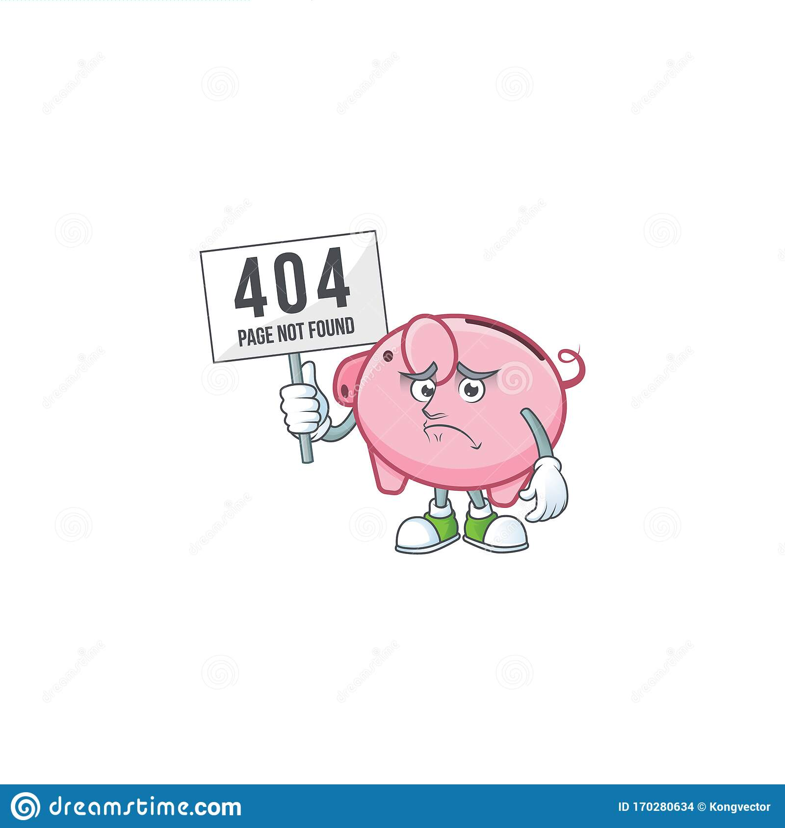 Sad Face Mascot Style Of Piggy Bank Raised Up A Board Stock Vector