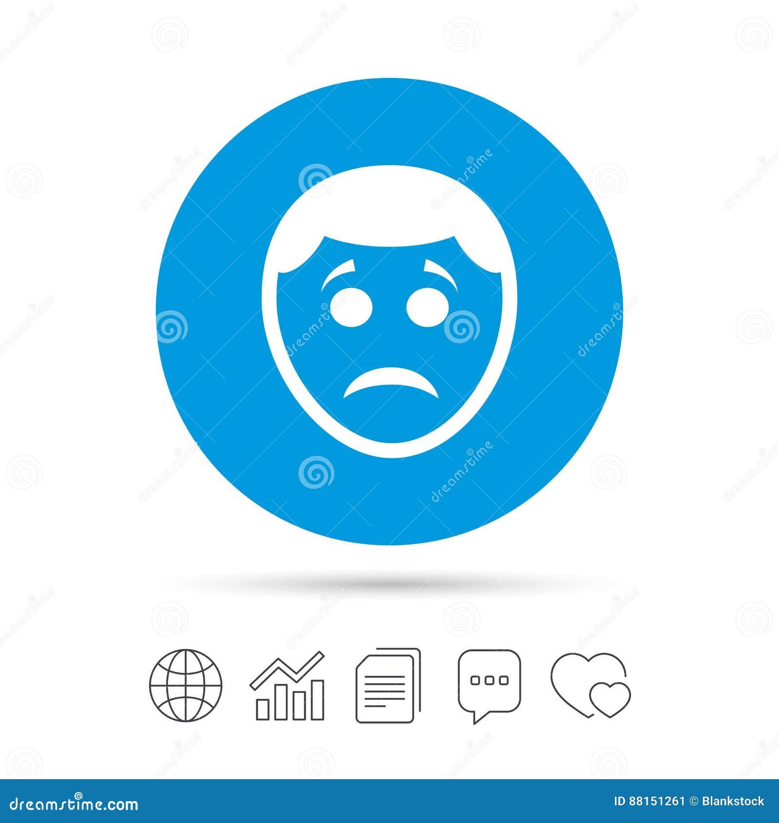 Sad Face Sign Icon Sadness Symbol Stock Vector Illustration Of
