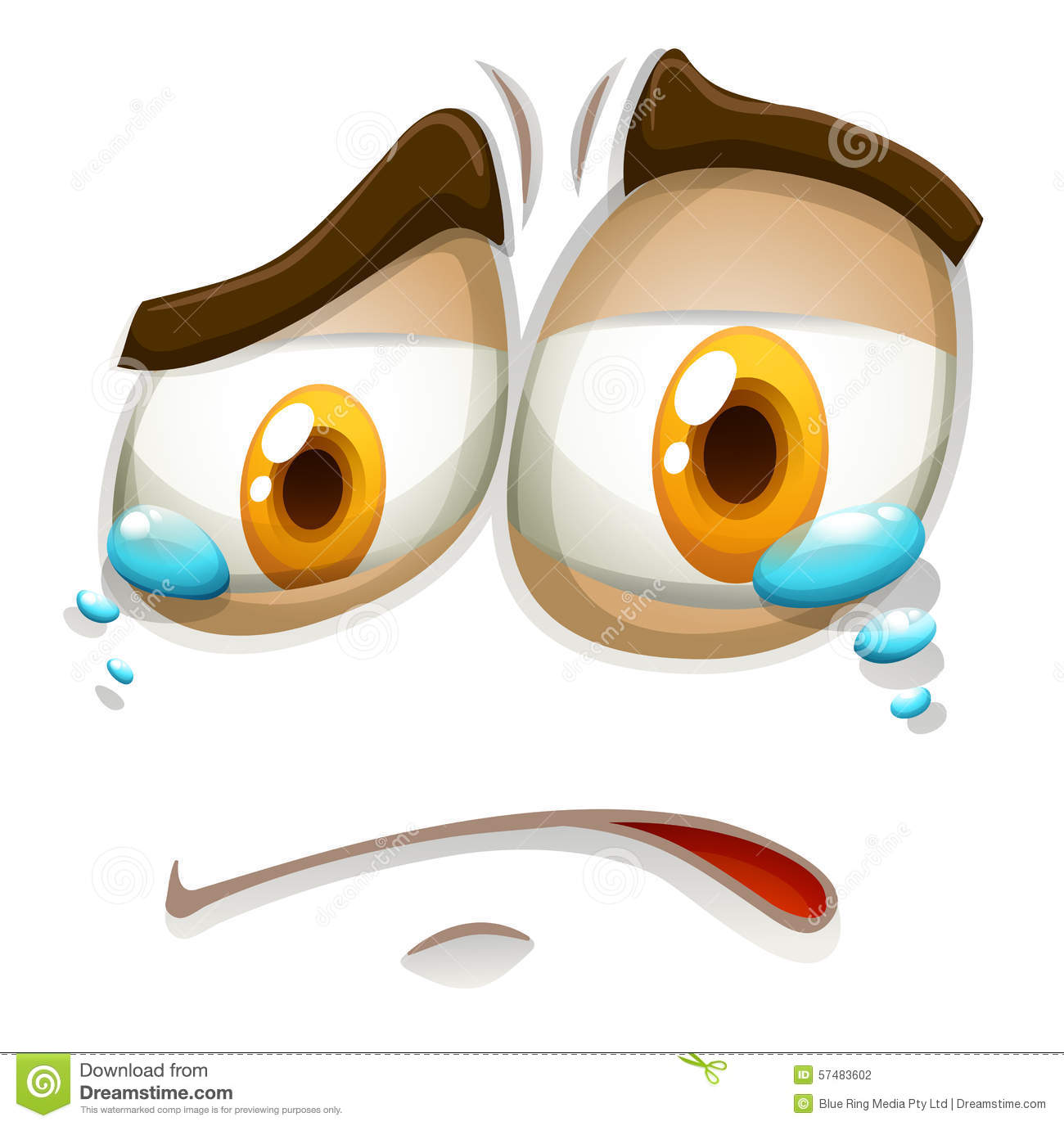 Sad Face With Tears Stock Vector. Illustration Of