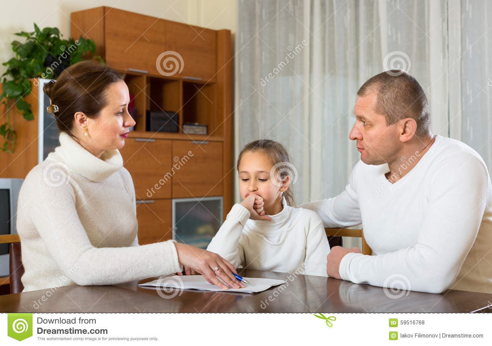 Sad family having financial problems