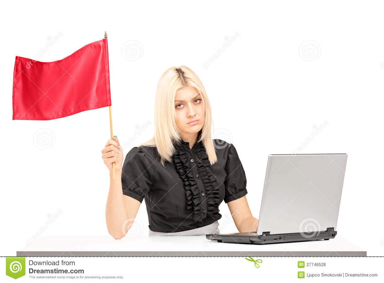 Sad Female Worker Waving A Flag Royalty Free Stock Photos ...