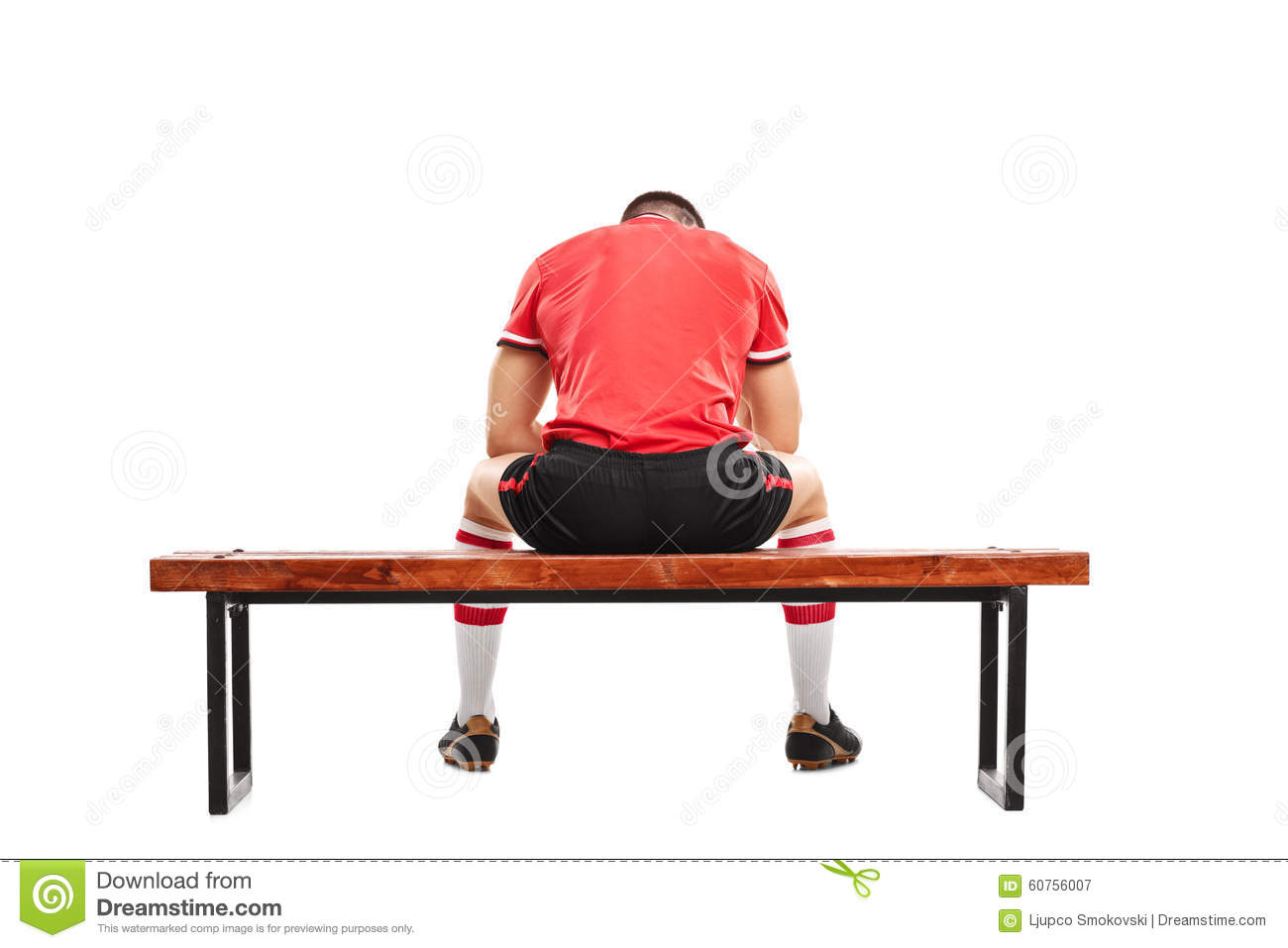 Sad Football Player Sitting On A Wooden Bench Stock Photo Image 60756007