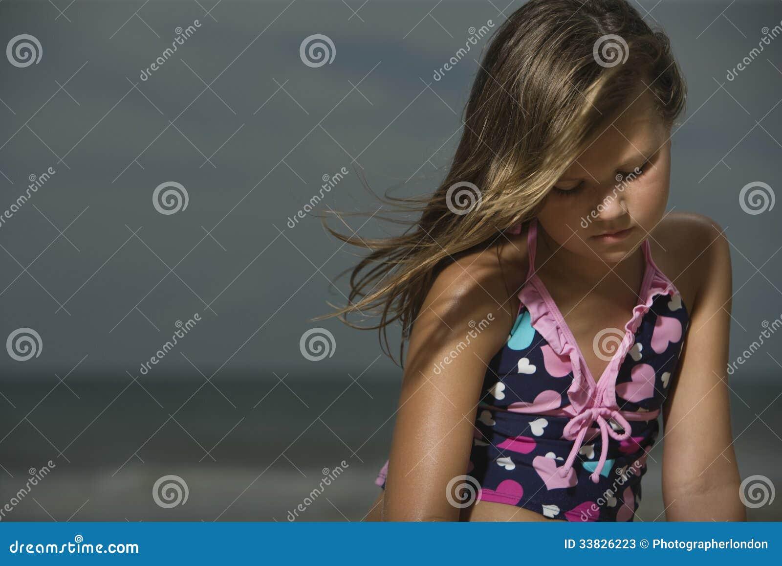 Sad Girl On Beach Stoc...