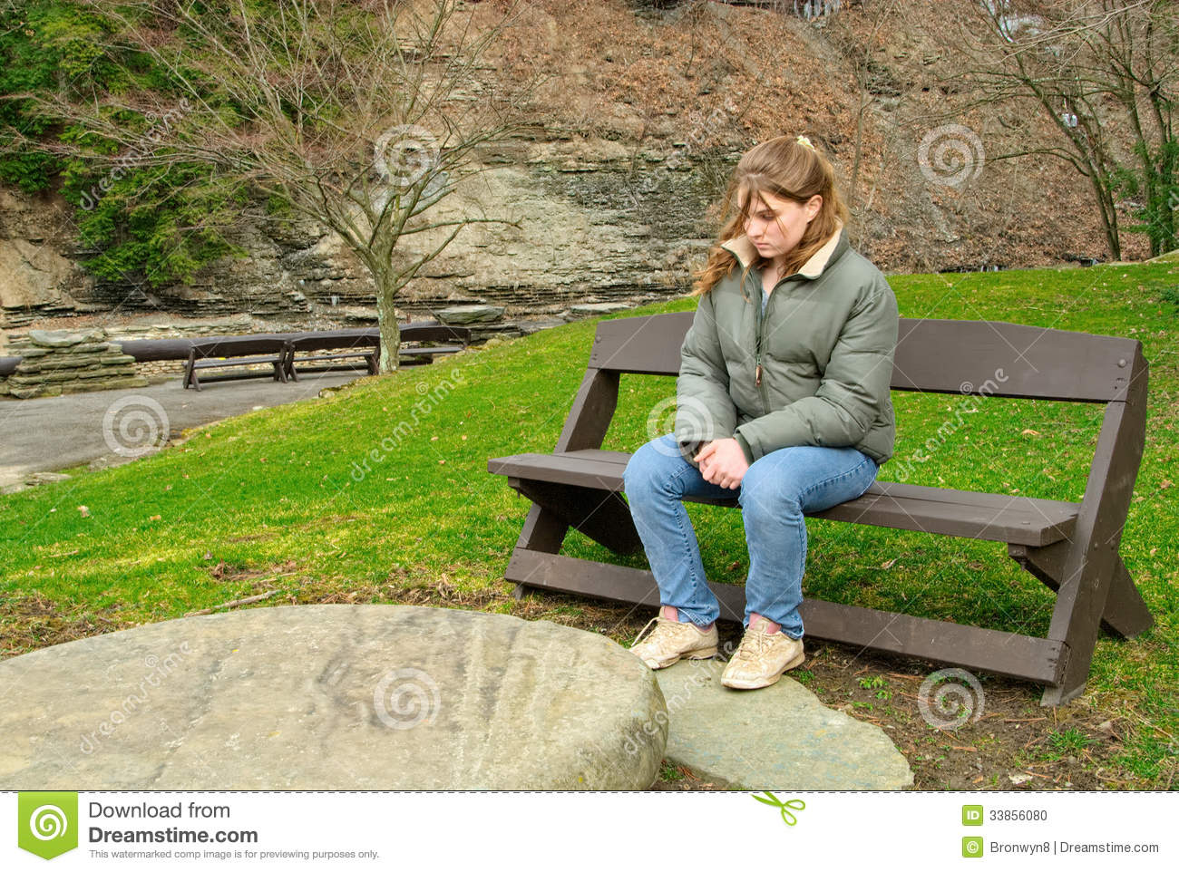 Girl Sitting Alone On Bench Teen Girl Sitting On A...