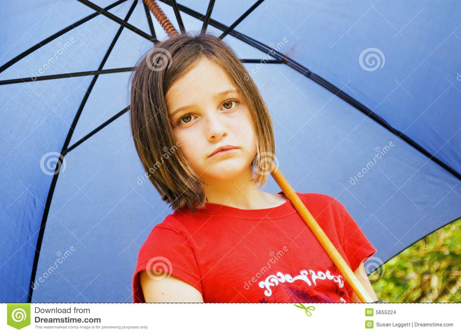 Sad Girl With Blue Umbrella