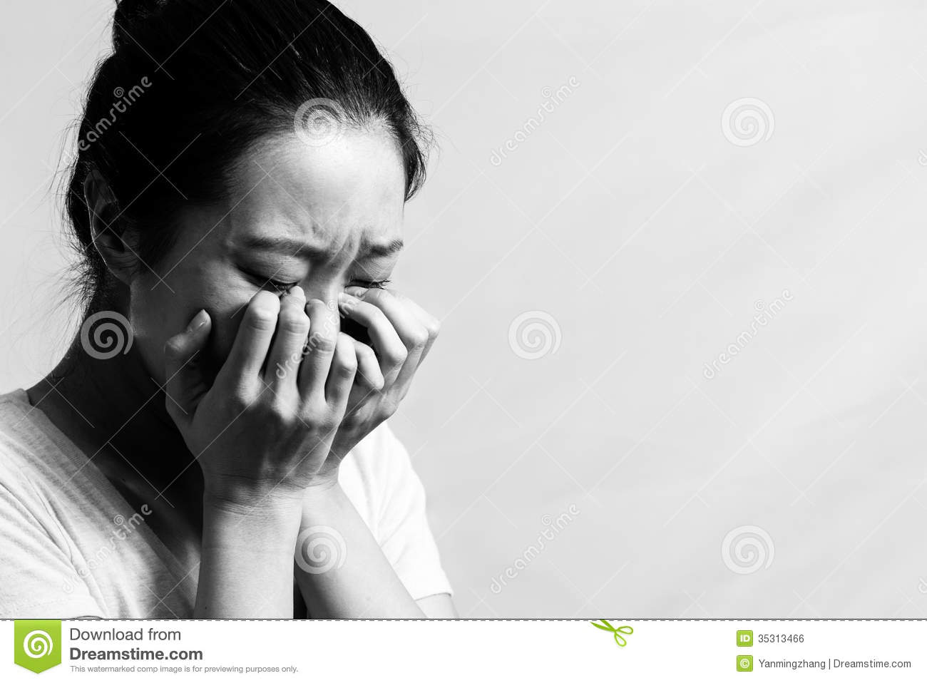 Woman crying black and white