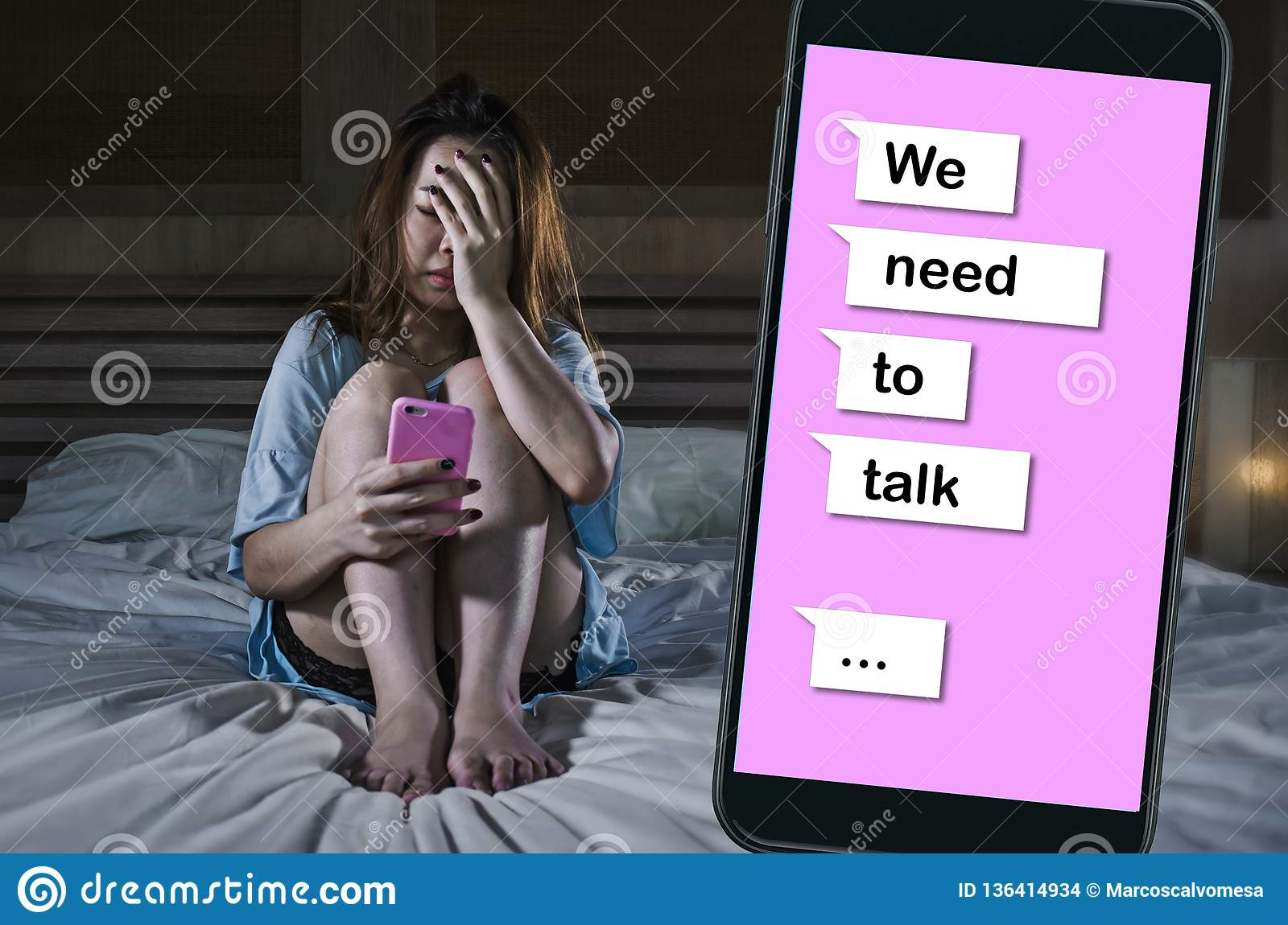 Sad Girl Feeling Depressed Crying In Bed Suffering Pain And Broken Heart Composite With Mobile Phone Online Text In Relationship Stock Photo Image Of Feeling Lonely 136414934
