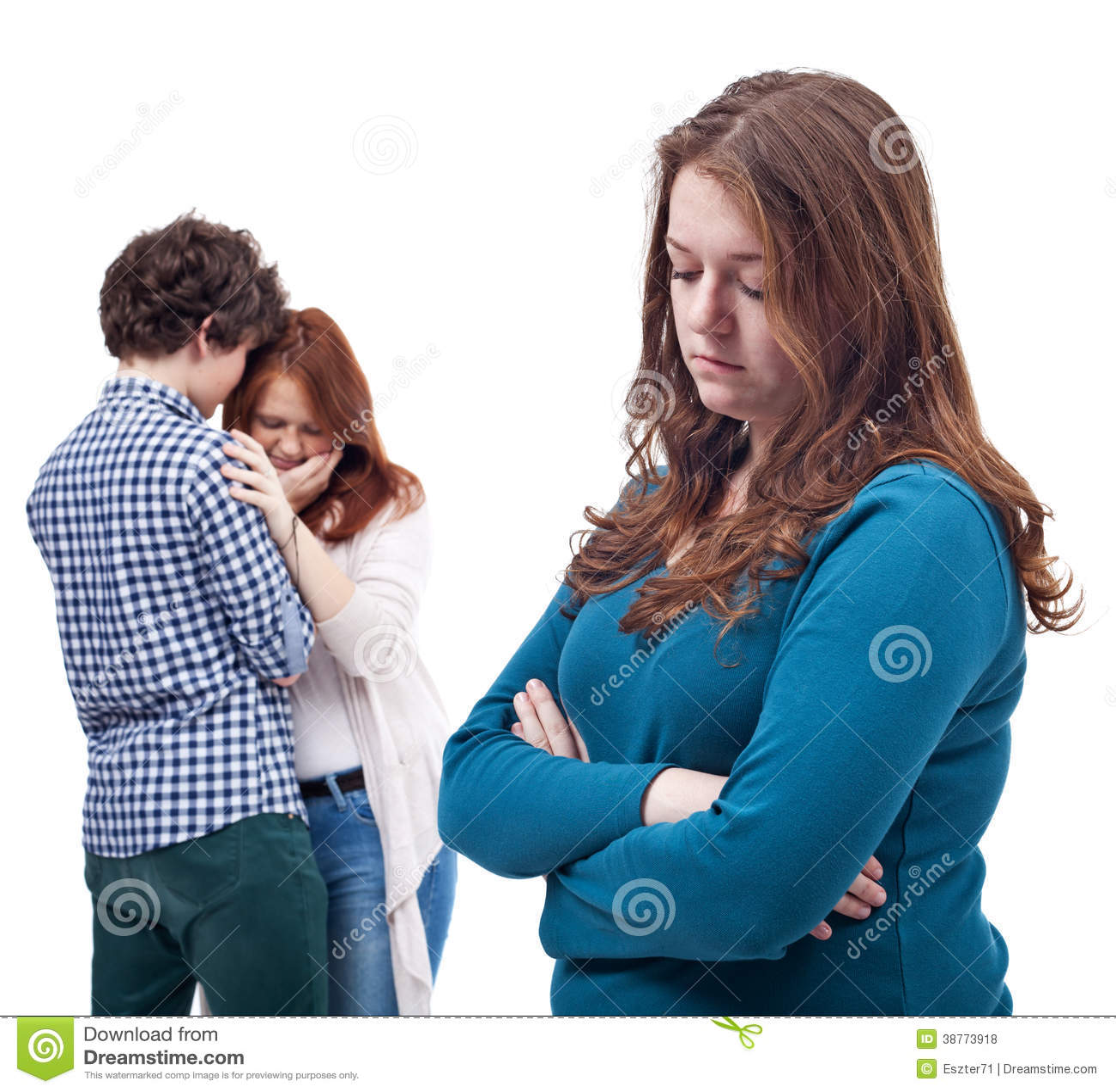 Sad Girl And Happy Couple Stock Photo Image Of Female 38773918