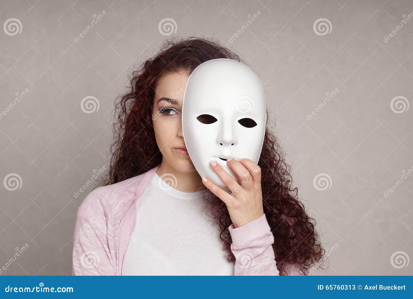 Sad Girl Hiding Behind Mask Stock Image - Image of illness ...