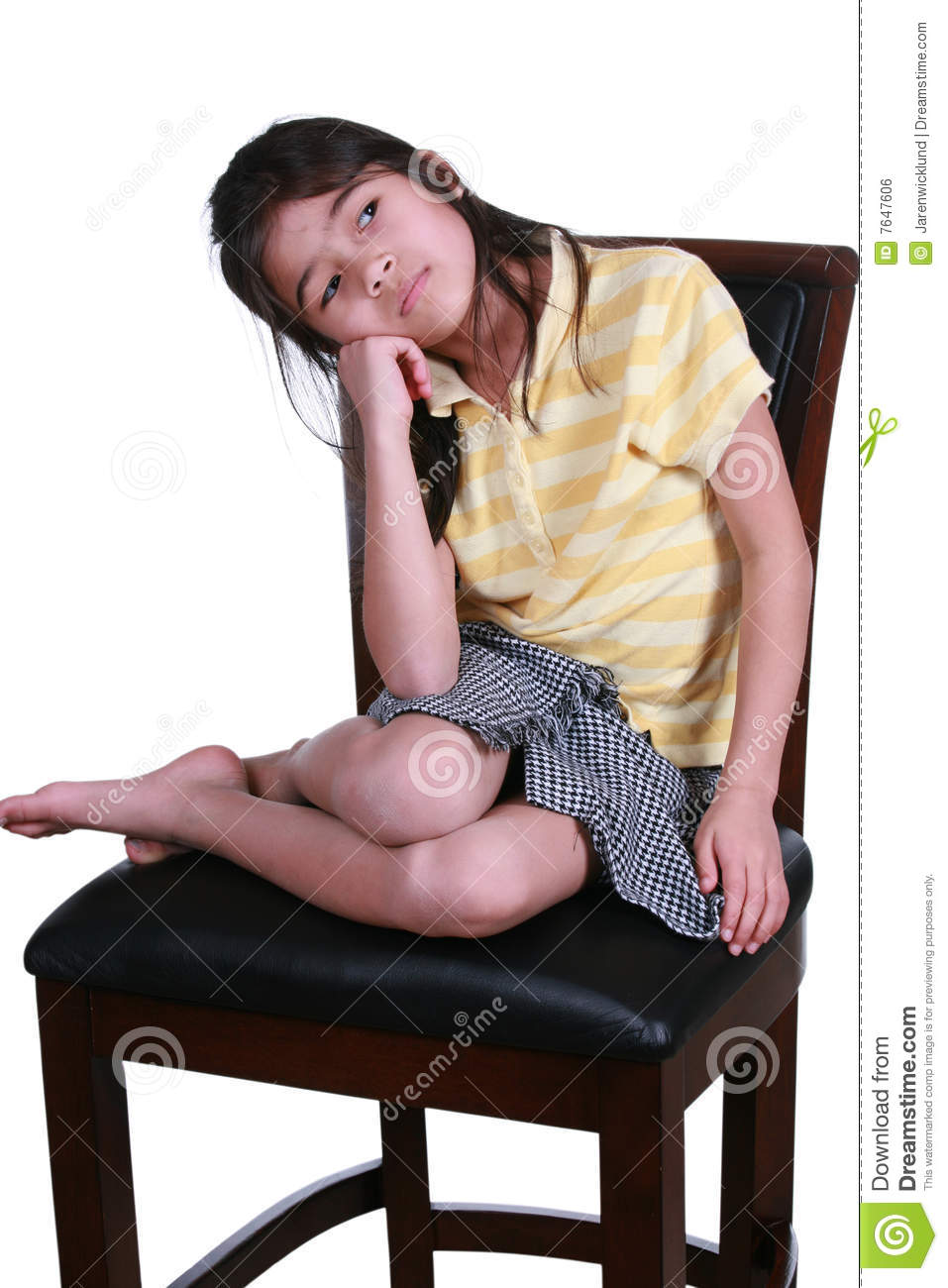 Sad Girl Sitting On Chair Stock Photo Image Of Resting
