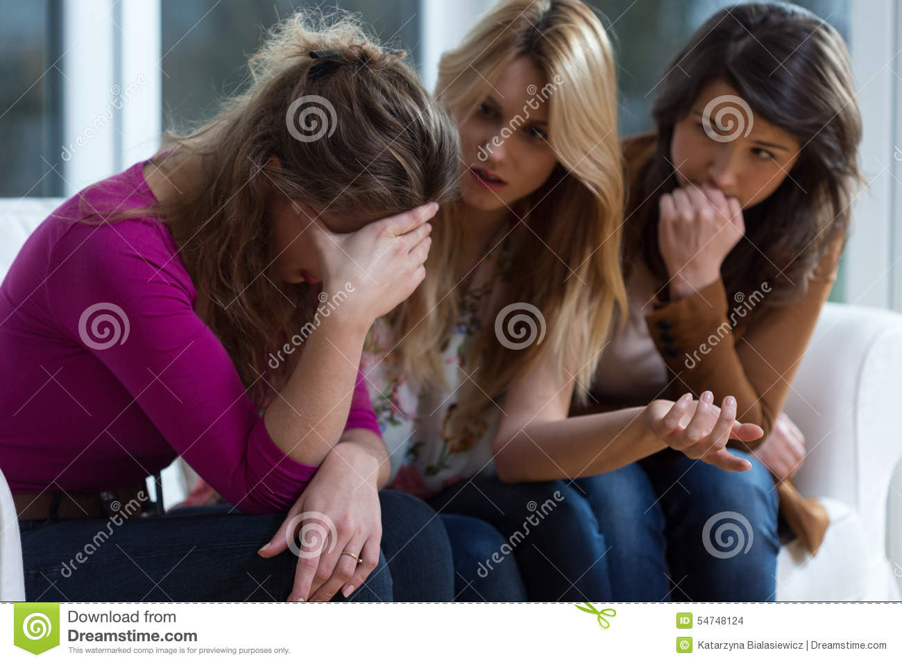 Sad Girl And Supporting Friends Stock Photo Image 54748124